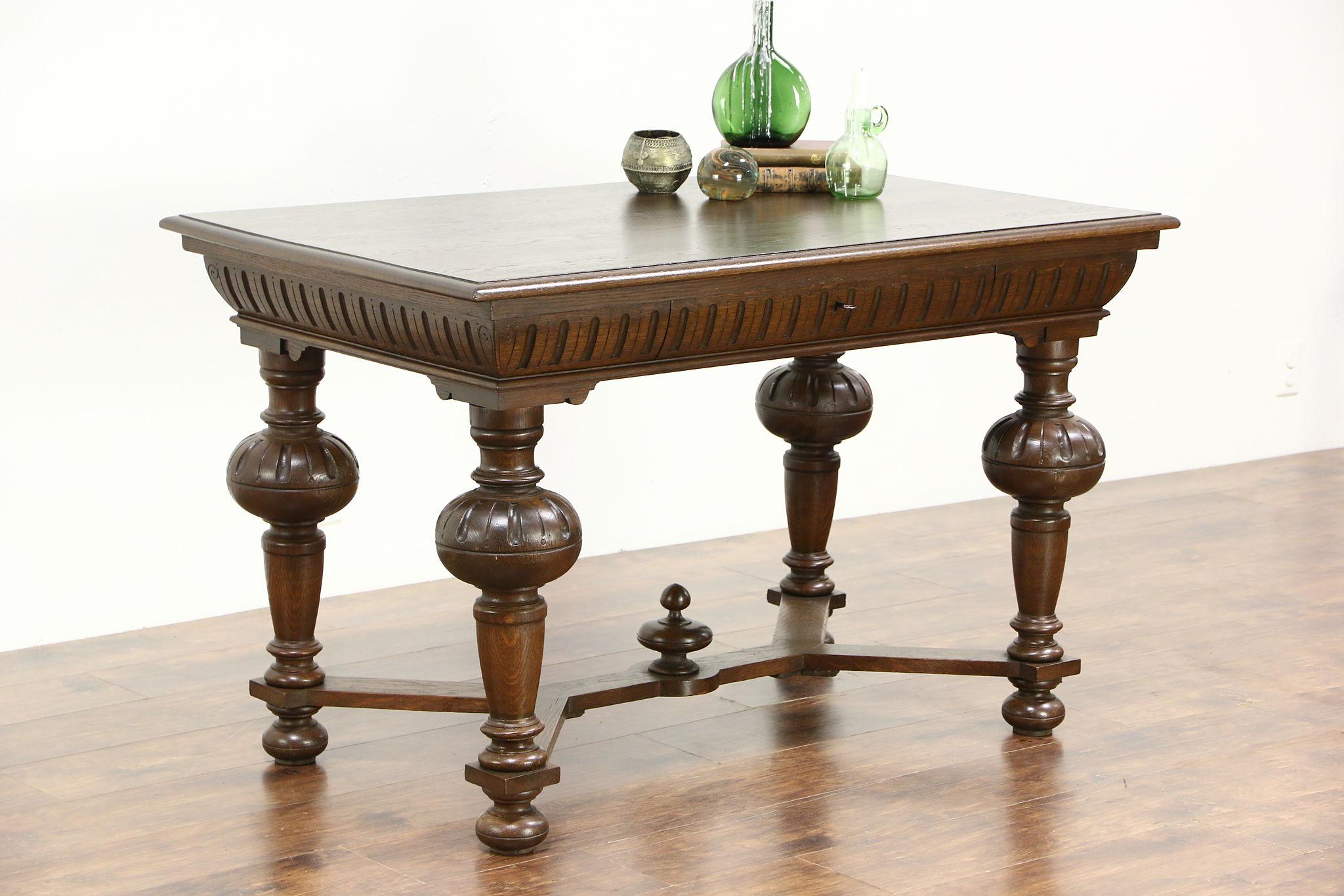 Renaissance Design Carved Oak Antique European Library Table Or Writing Desk