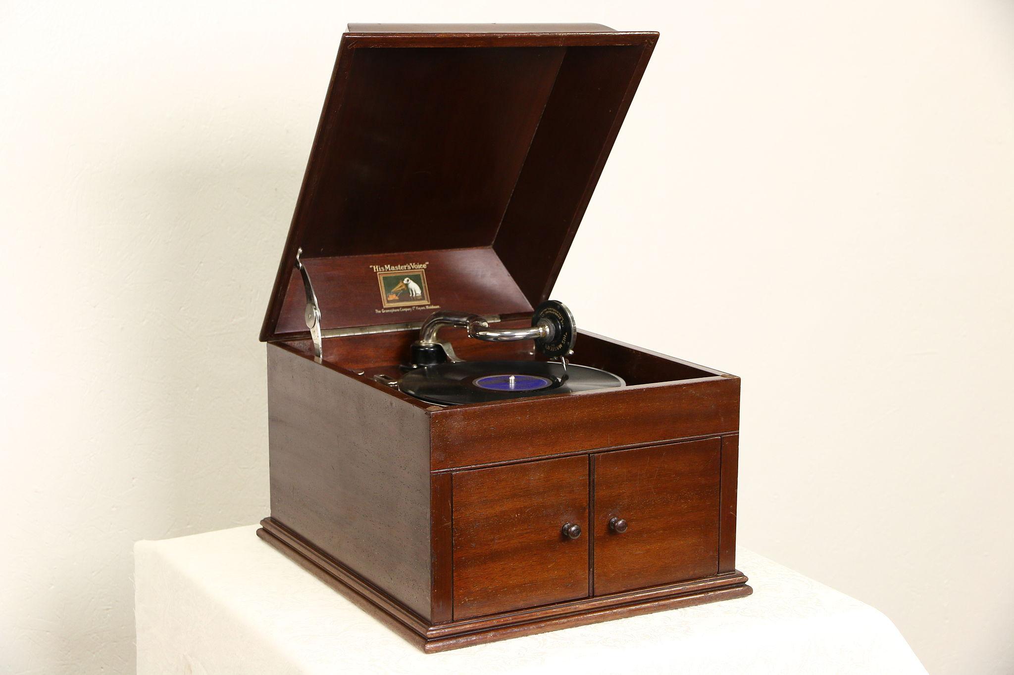 Victor Talking Machine Model 109, Tabletop 1915 Antique Mahogany Victrola  ...