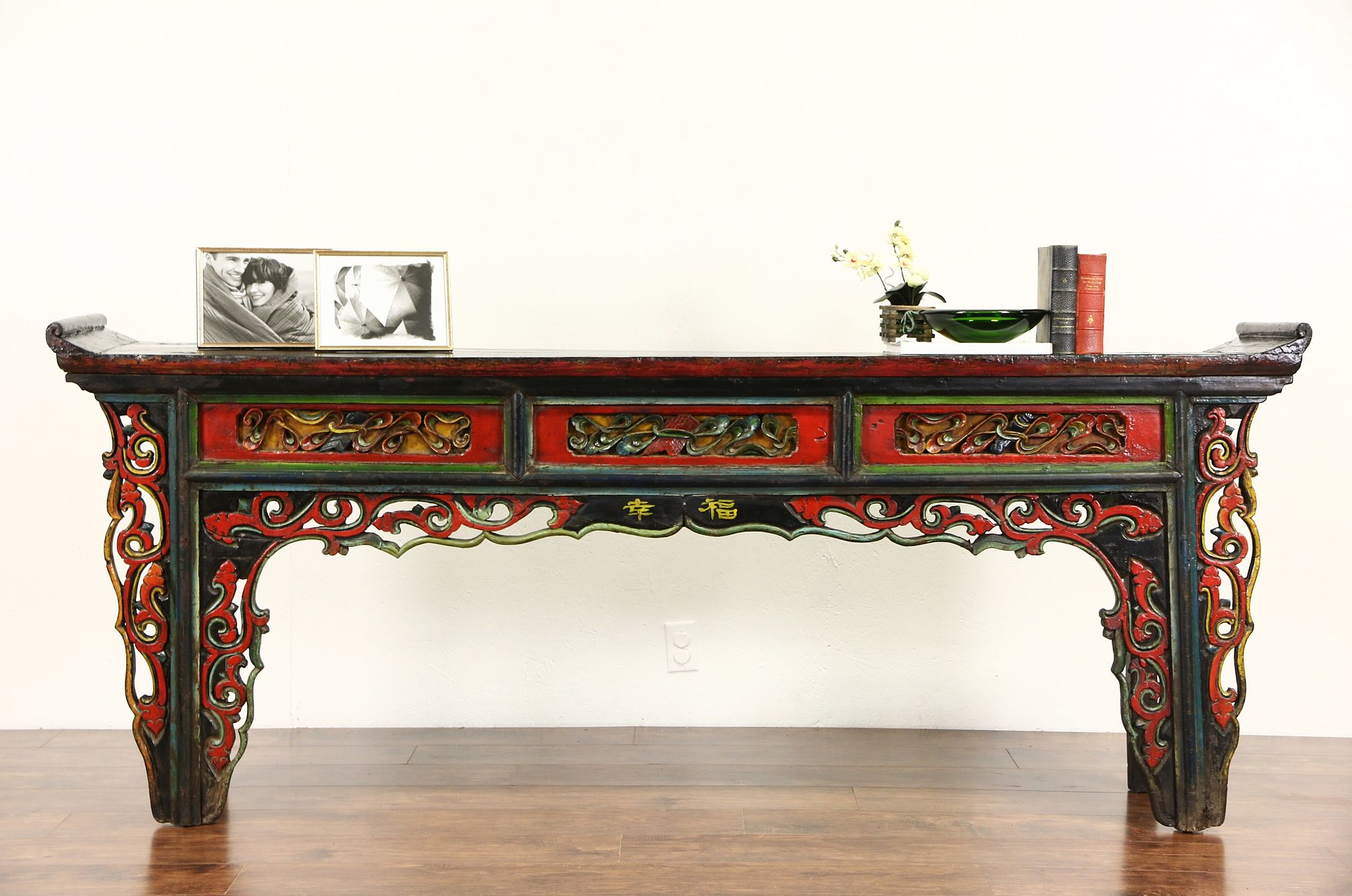 Chinese Hand Painted Lacquer 1900 Antique Carved Altar Or Sofa Table Console