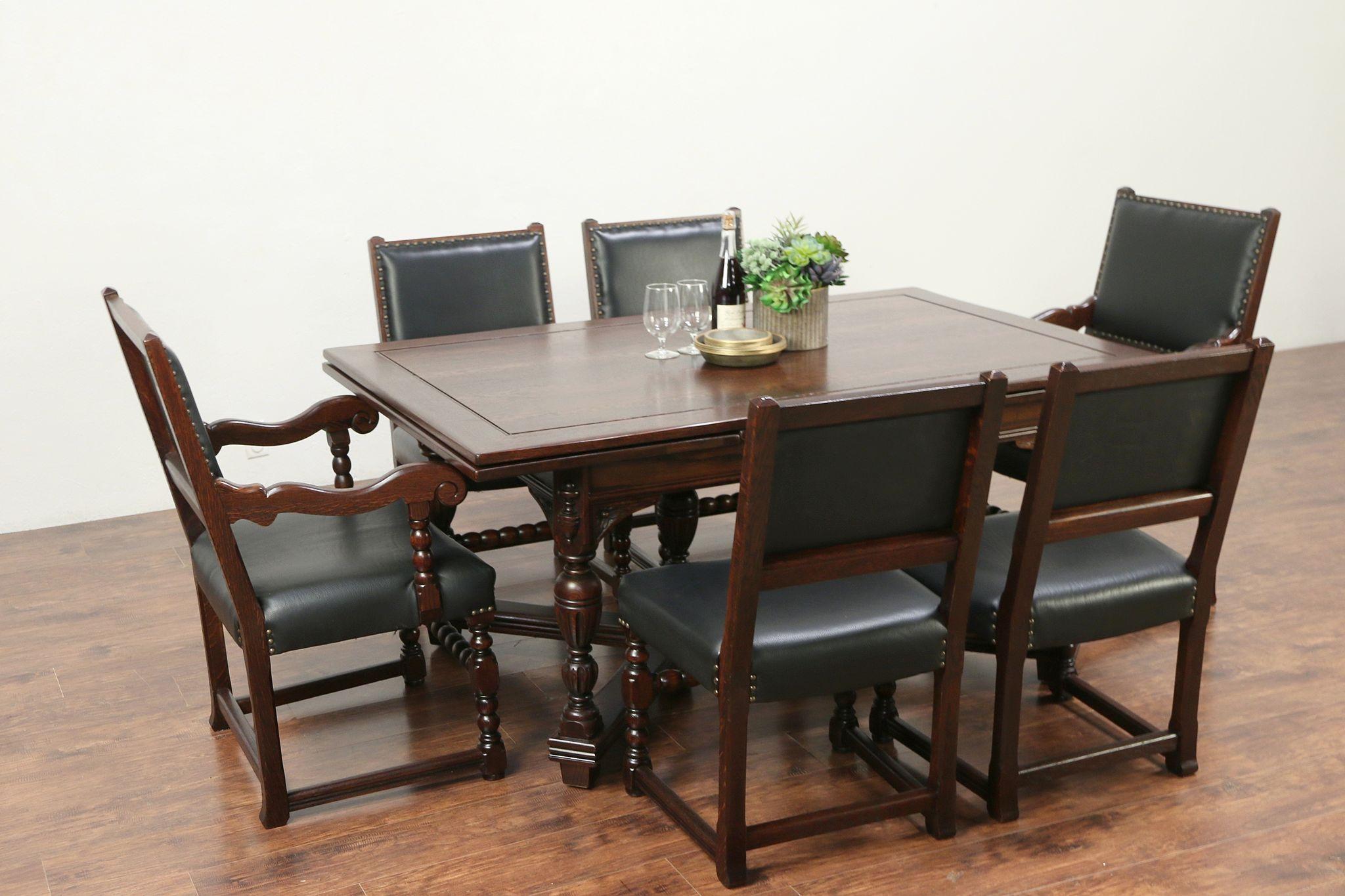 English Tudor Antique Oak Dining Set Table 6 Leather Chairs Altman Ny 29265