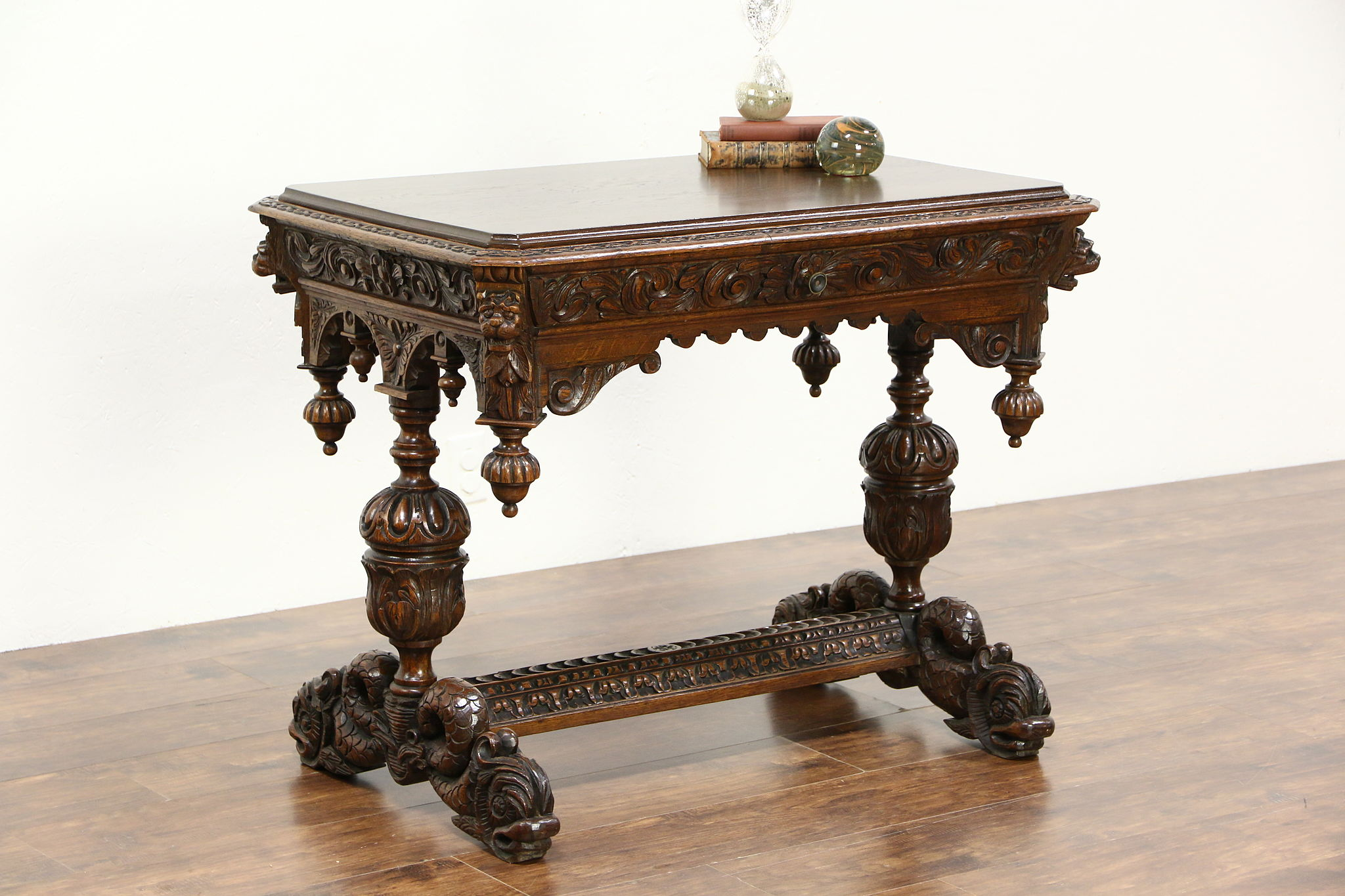 Oak Antique 1880 Library Or Hall Table Writing Desk, Carved Dolphins U0026  Gargoyles