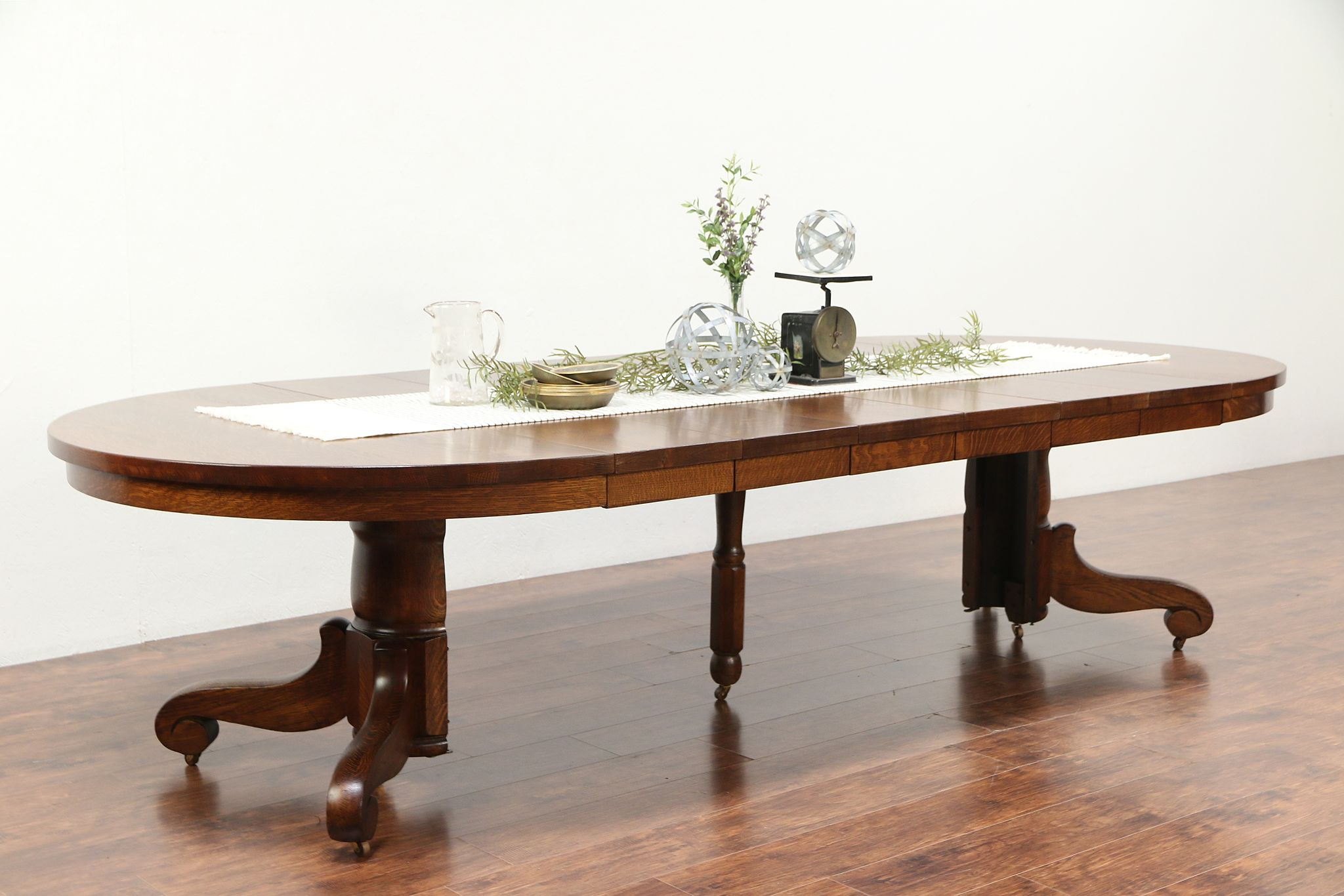 Sold Round 54 Antique 1900 Oak Pedestal Dining Table 6 Leaves Extends 10 5 29322 Harp Gallery Antiques Furniture