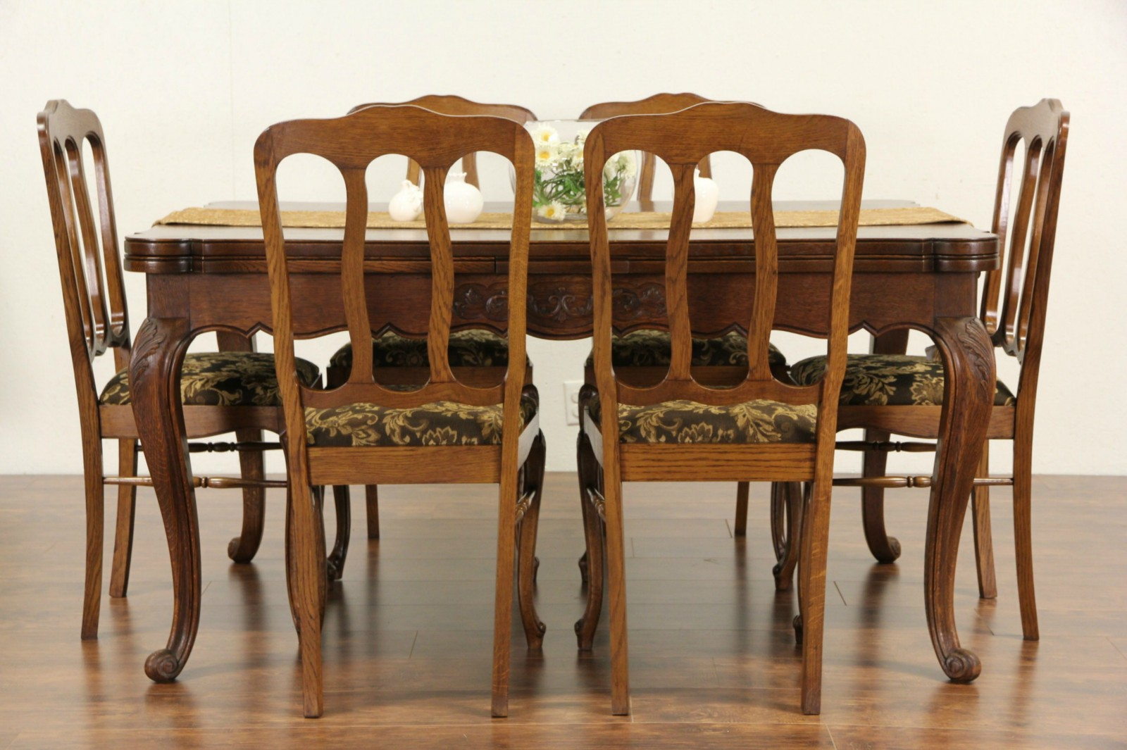 Country French Carved Oak 1920u0027s Dining Set, Table, 2 Draw Leaves U0026 6 Chairs