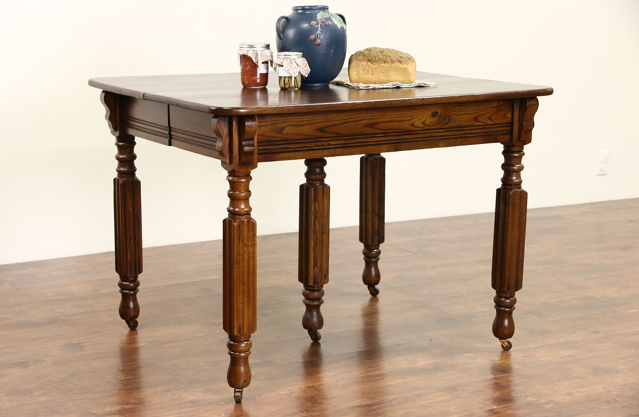 Victorian 1900 Antique Ash Dining Table 6 Leaves 5 Legs Extends 9