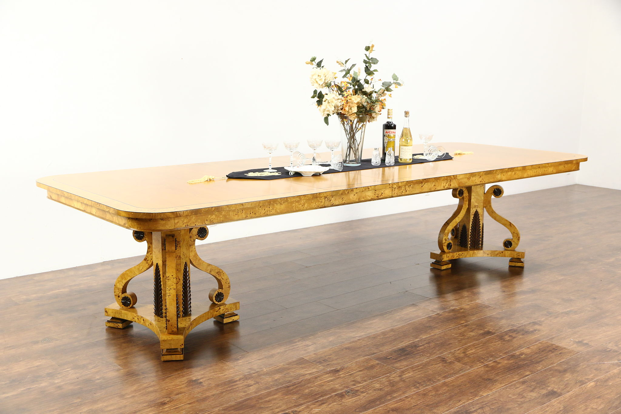 Empire Or Biedermeier Style Burl Dining Table, Signed Baker, Extends 11u0027
