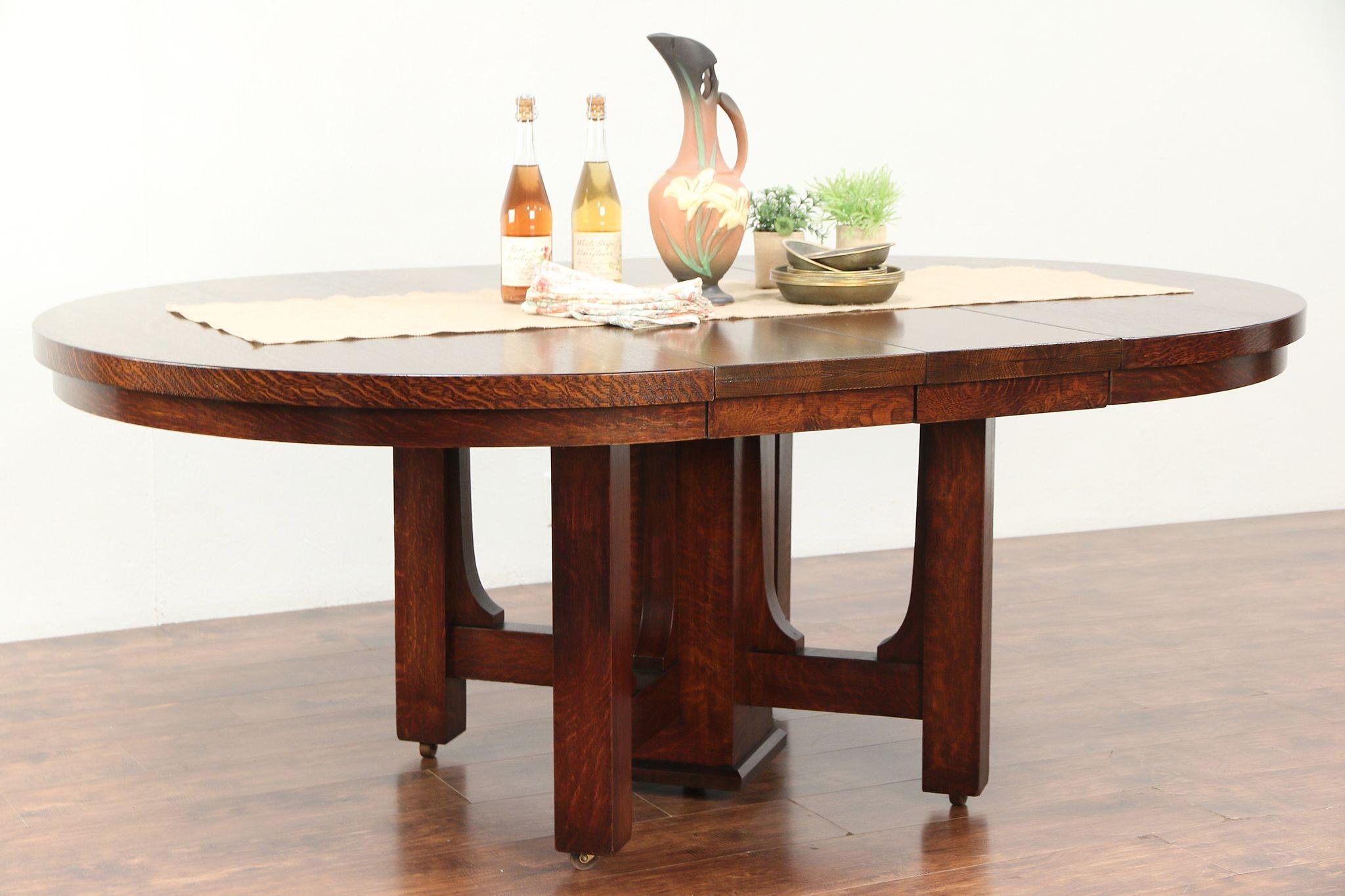 Sold Arts Crafts Mission Oak Antique Craftsman 54 Dining Table 2 Leaves 29446 Harp Gallery Antiques Furniture