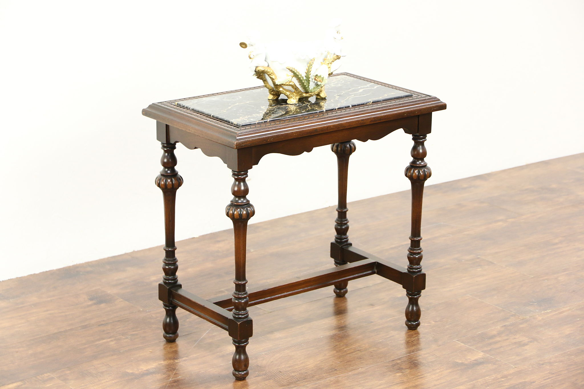 Attractive SOLD - Chairside Tea or Coffee Table, 1920's Antique, Black Marble  AO88