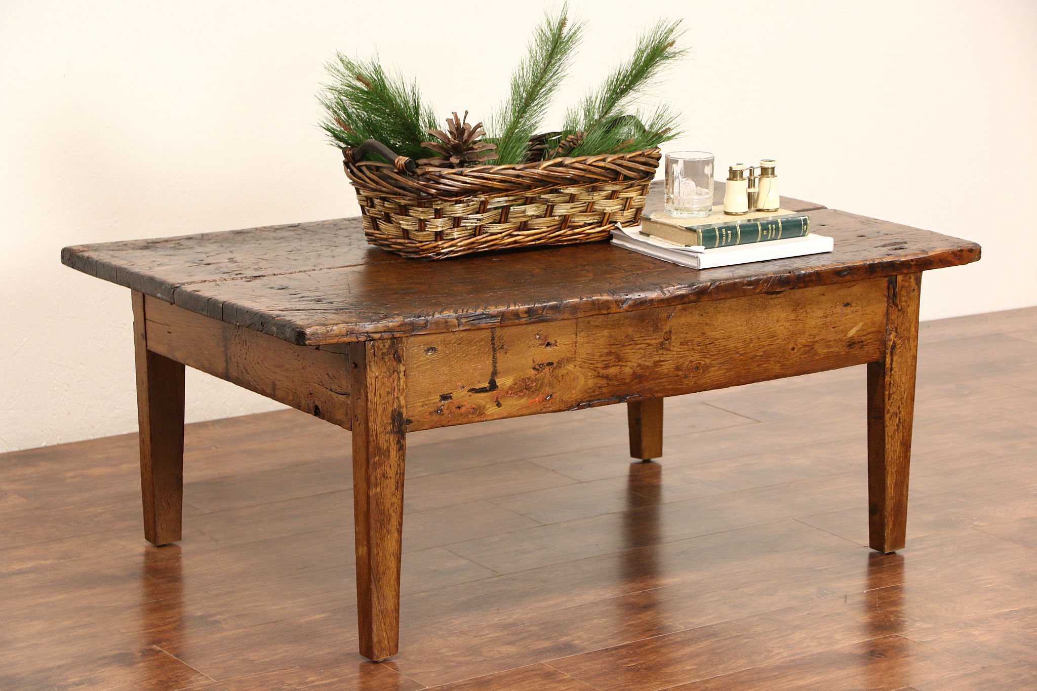 SOLD Rustic Primitive Chestnut Coffee Table from 1860 s Antique