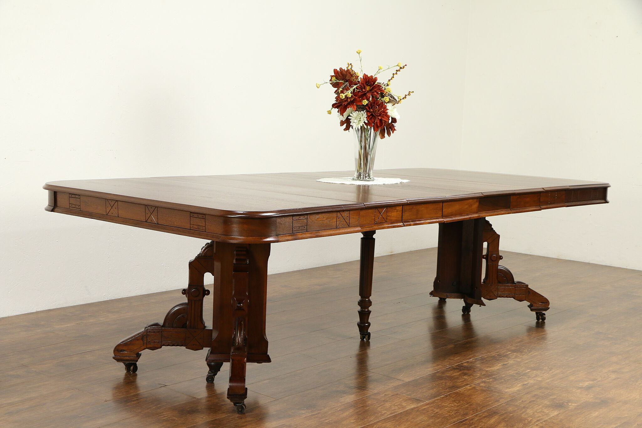 Victorian Eastlake Antique Walnut Dining Table, 6 Leaves, 110\