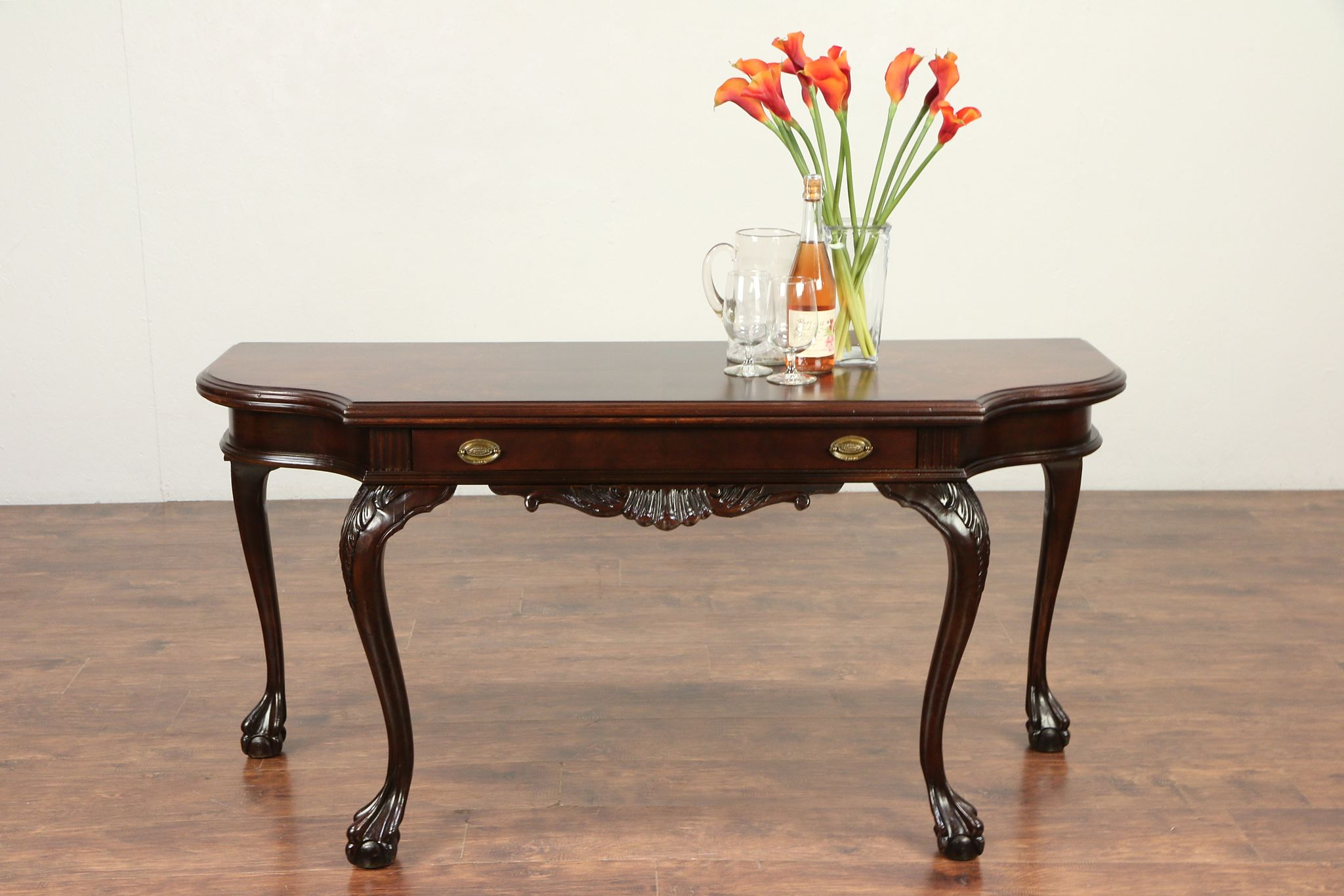 Convertible Antique Dining Sofa Buffet Or Console Table Claw Feet 29249 Photo