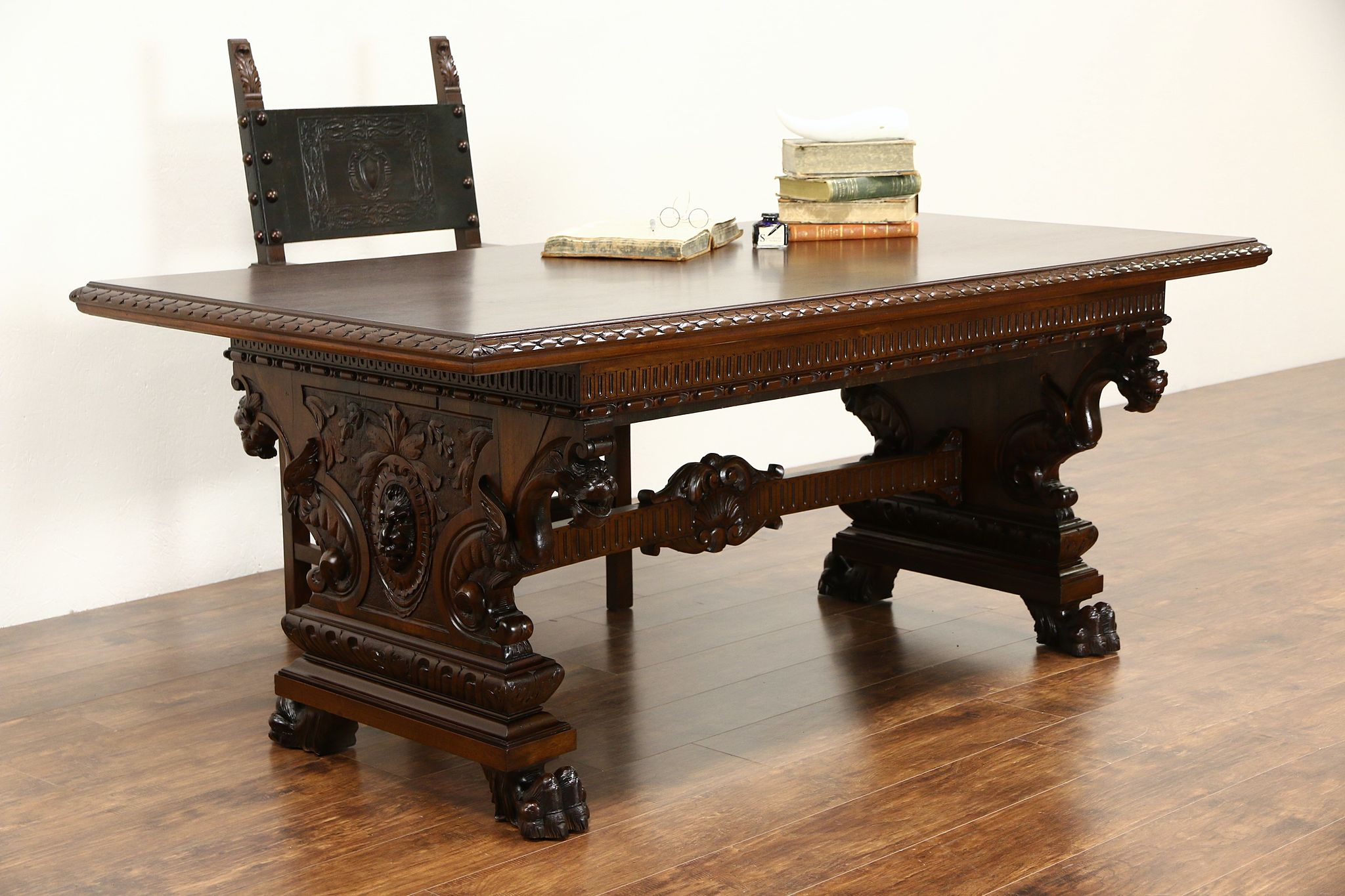Italian Antique 1900 Dining Or Library Table, Writing Desk, Carved Lions