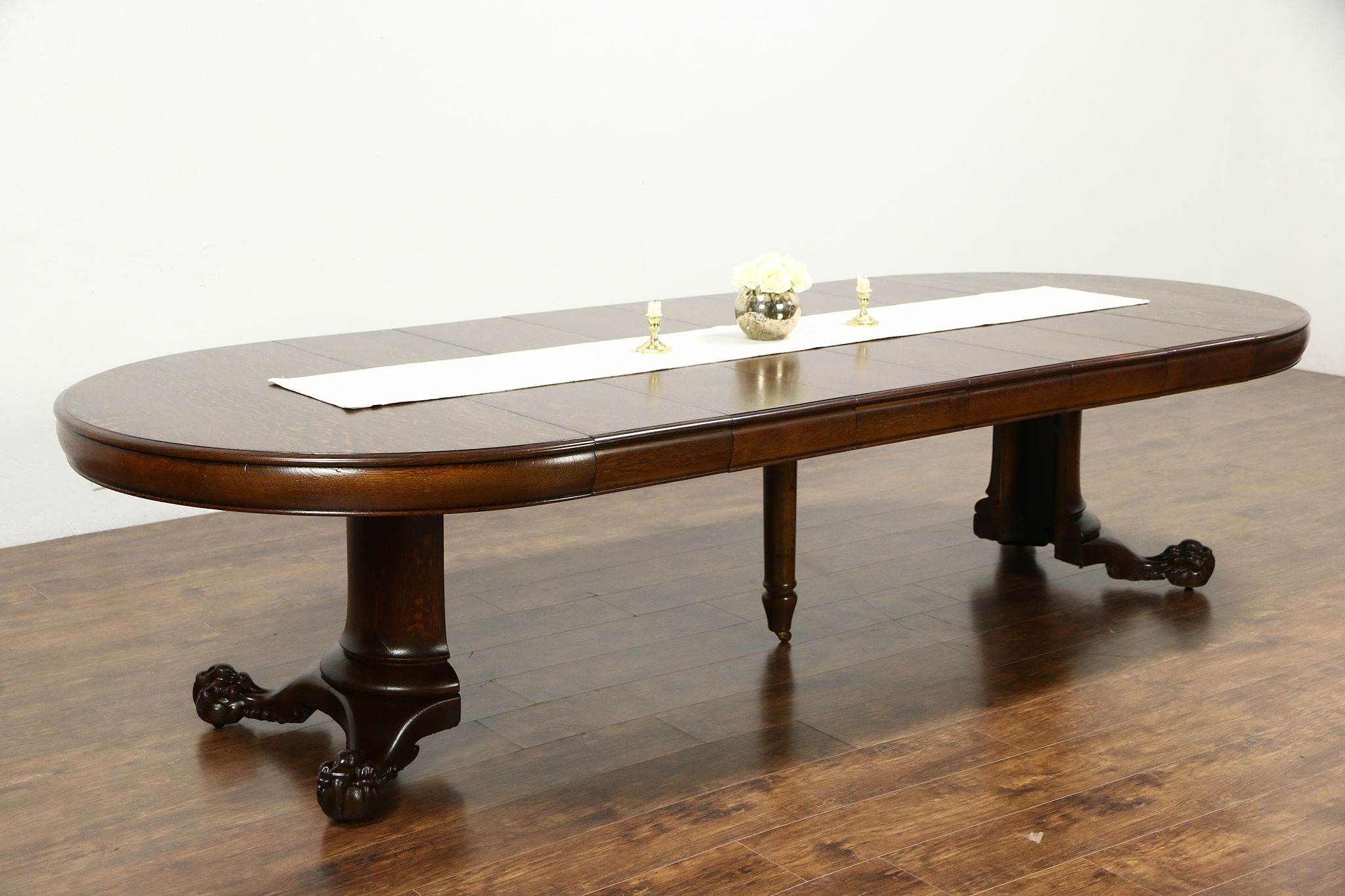 Sold Round Oak 52 Antique 1900 Dining Table Claw Feet 6 Leaves Extends 10 4 Harp Gallery