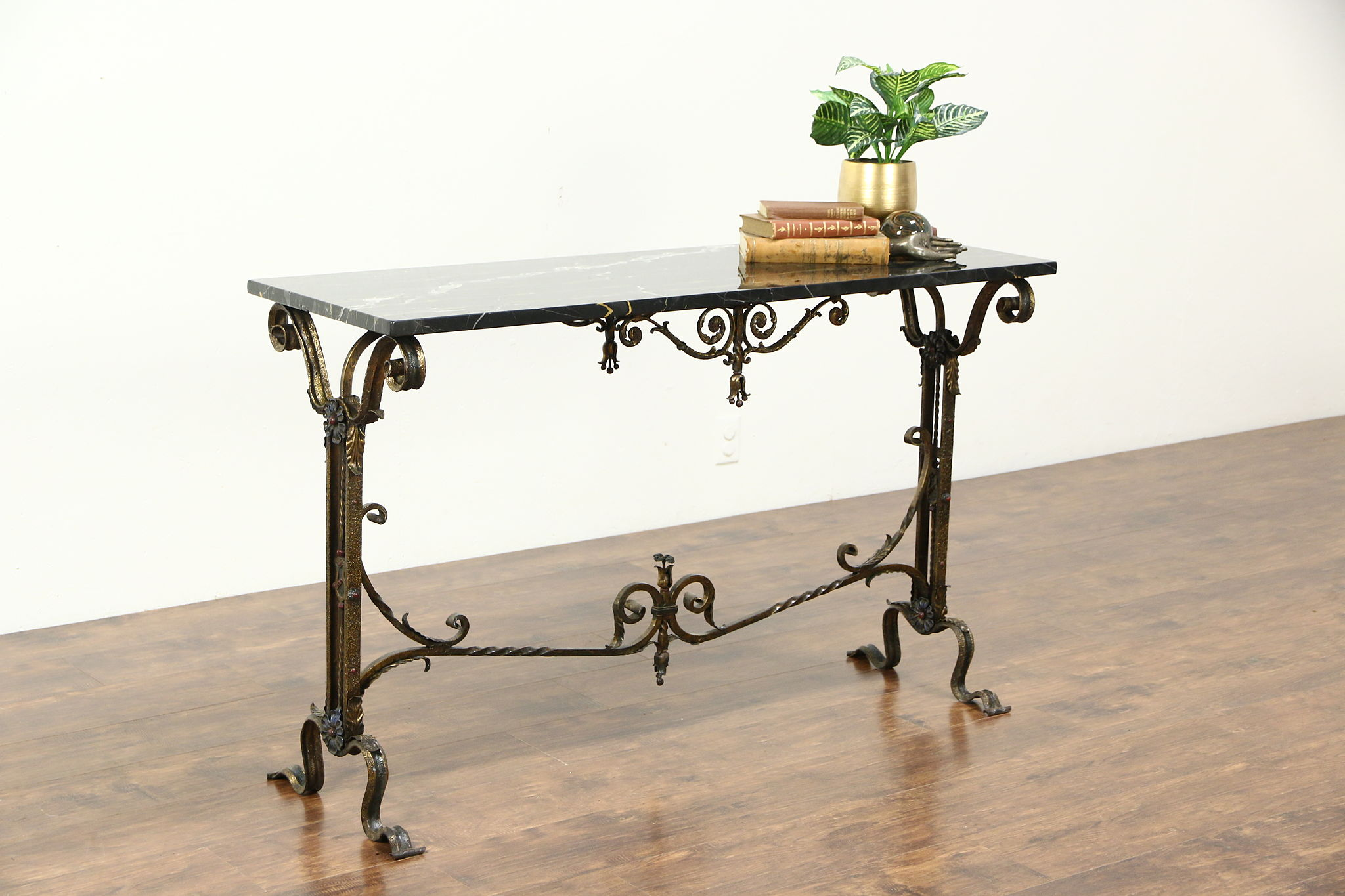 Wrought Iron Black Marble 1915 Antique Console Hall Or Sofa Table 26919