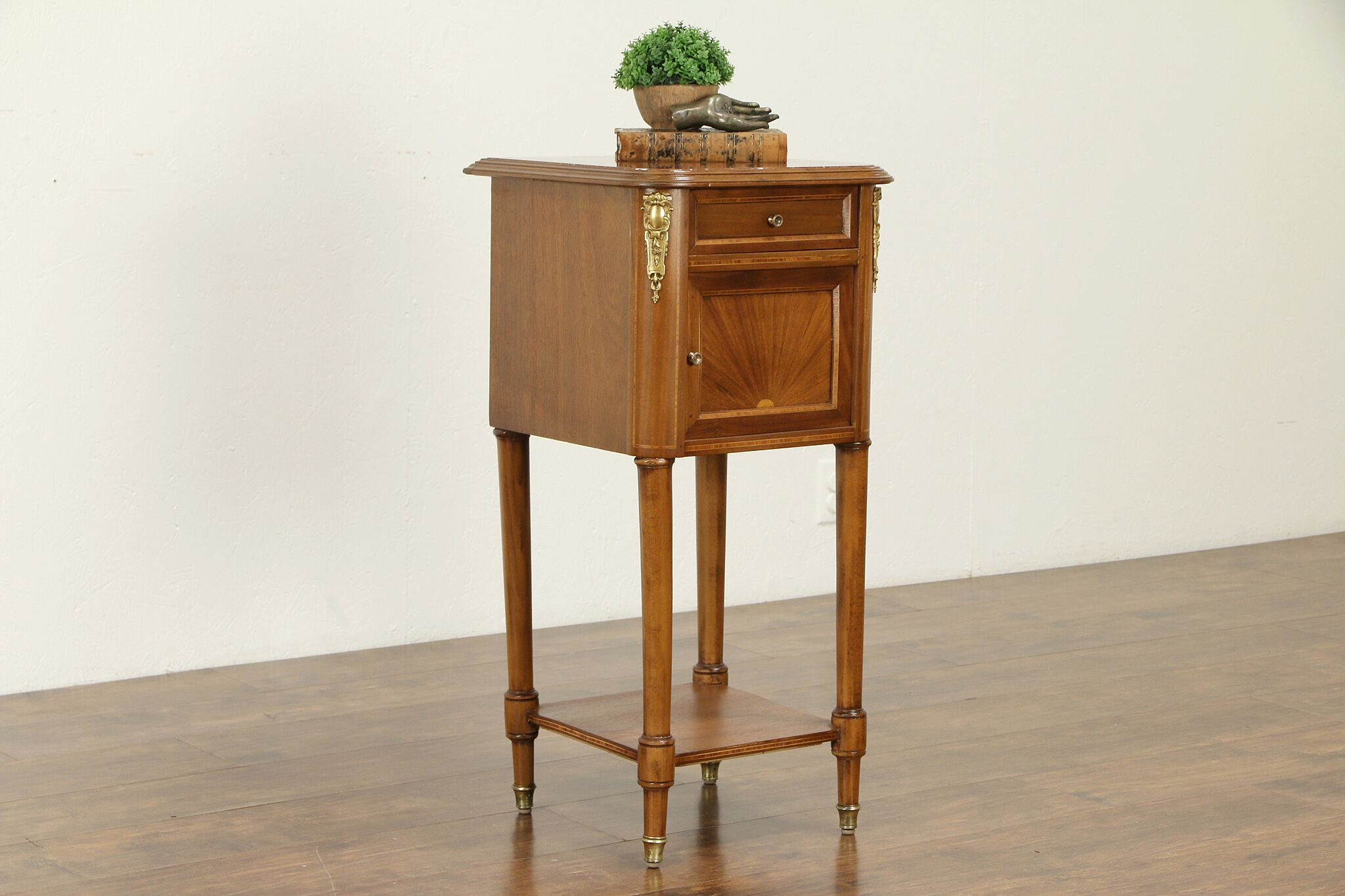 French Antique Mahogany Marble Top Nightstand Or End Table 31813