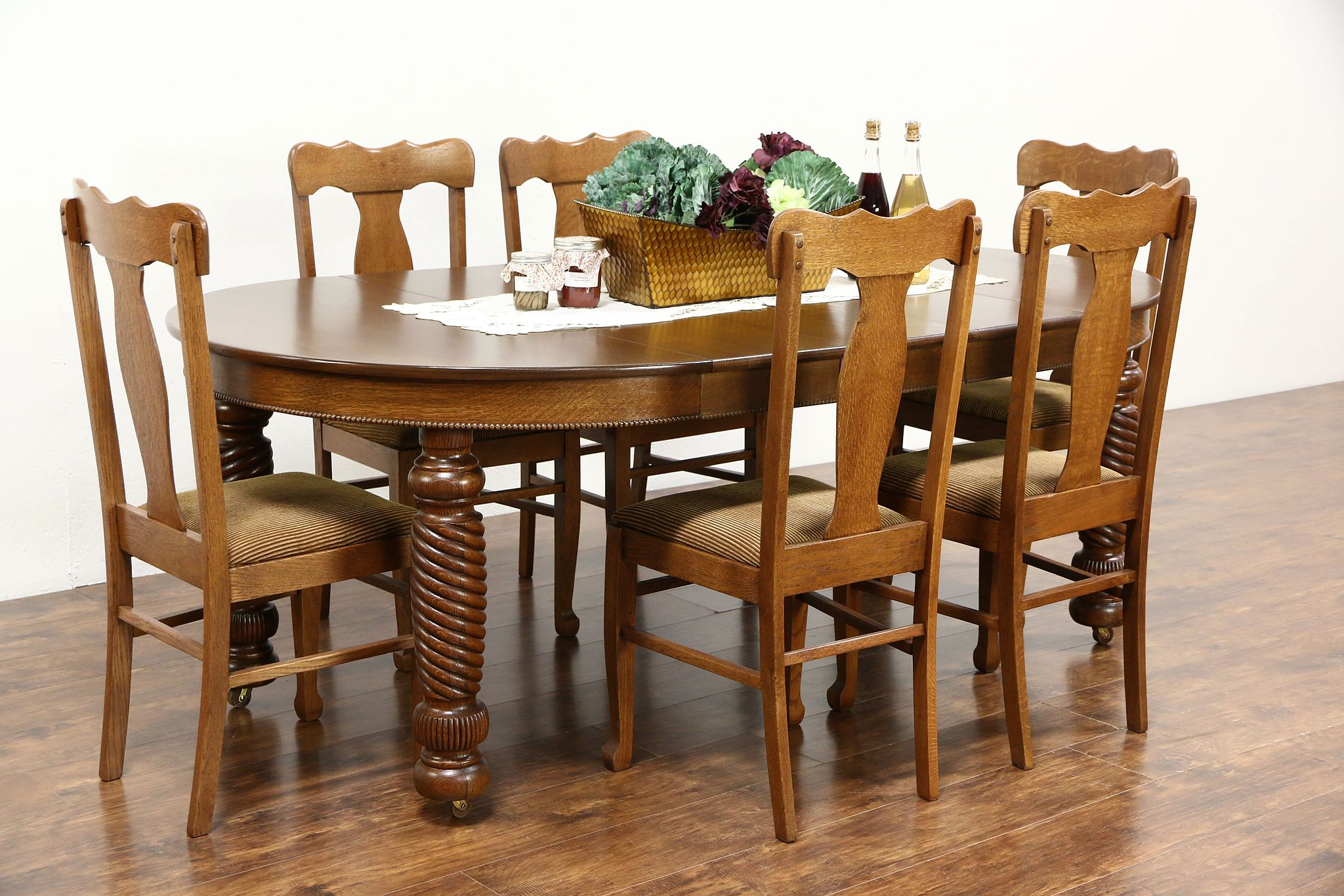 Round Oak Antique Dining Table Leaves Spiral Legs - Dining table with 3 leaves