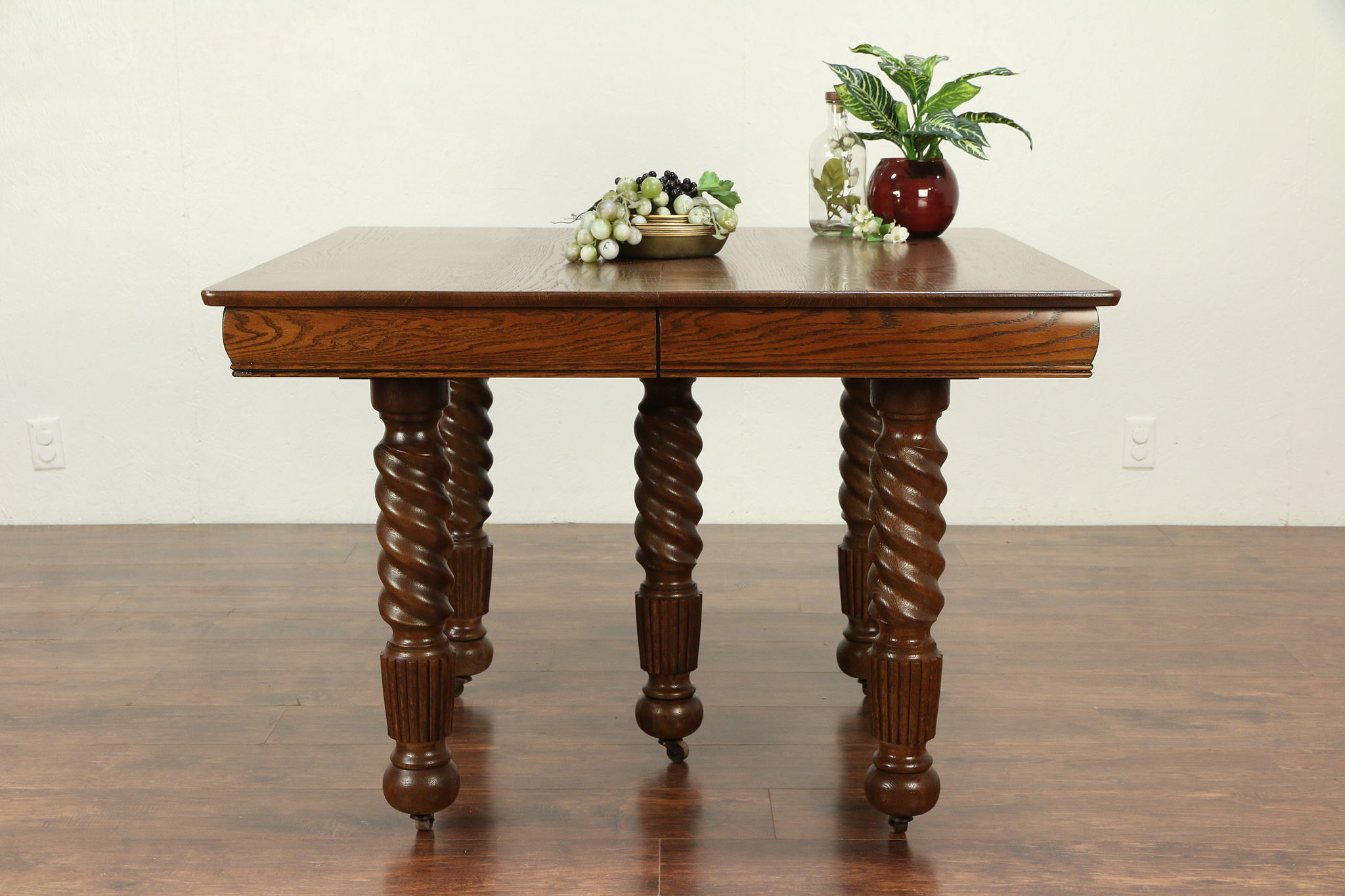Oak Antique Victorian Square Dining Table, 2 Leaves, Spiral Legs #29271
