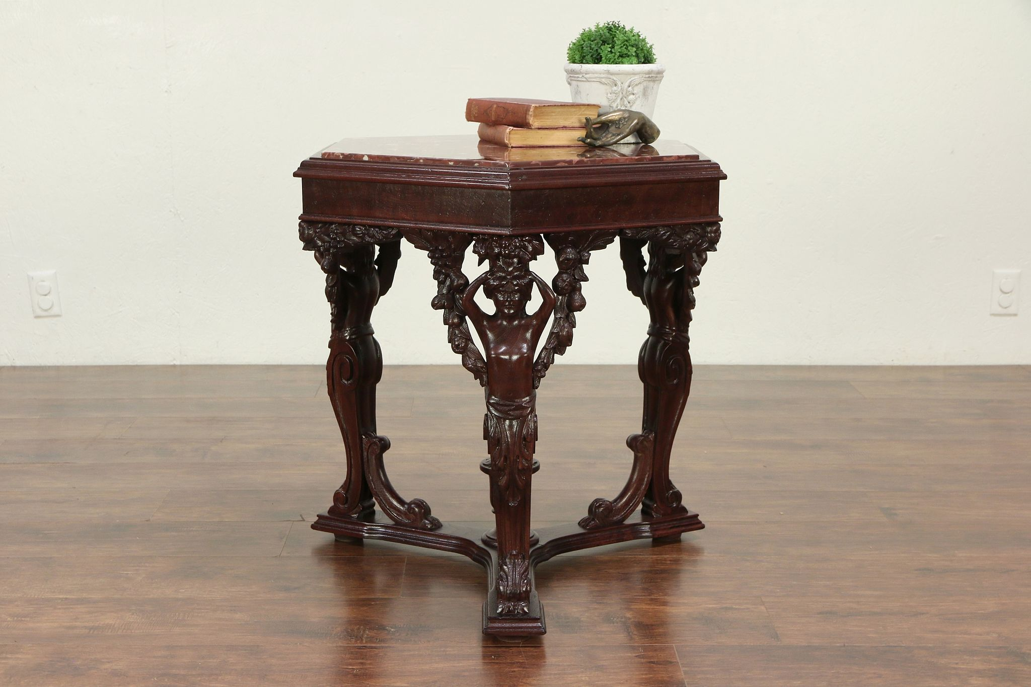 Marble Top Antique Hexagonal Chairside Lamp Or End Table Carved Figures 29309