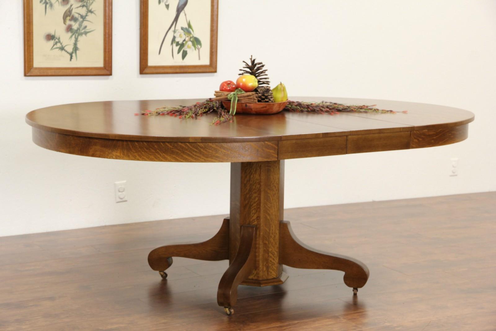 sold round 54 oak 1900 antique pedestal dining table 2 leaves harp gallery. Black Bedroom Furniture Sets. Home Design Ideas