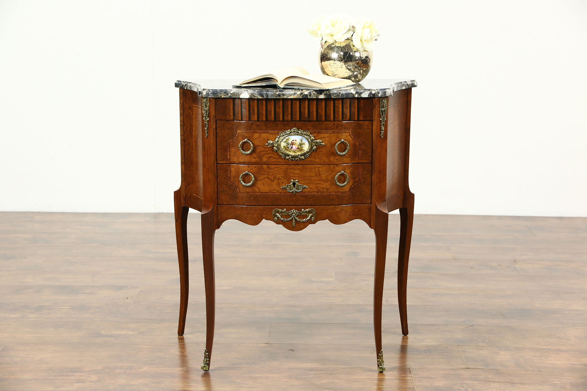sold - french 1940's vintage small chest, end table or nightstand Marble Top Nightstand