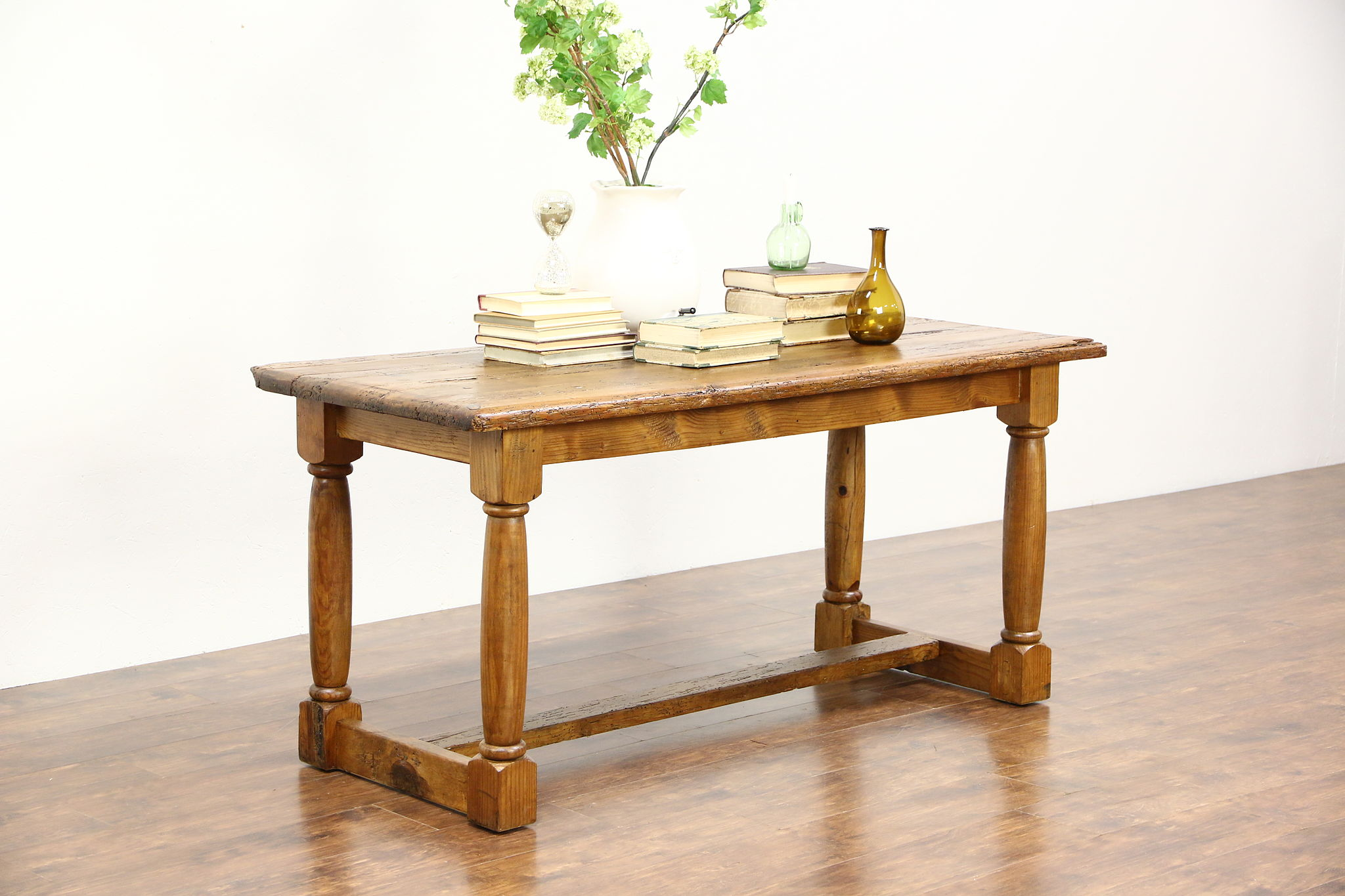 Rustic French Country Pine Trestle Dining Console Or Kitchen Island Table