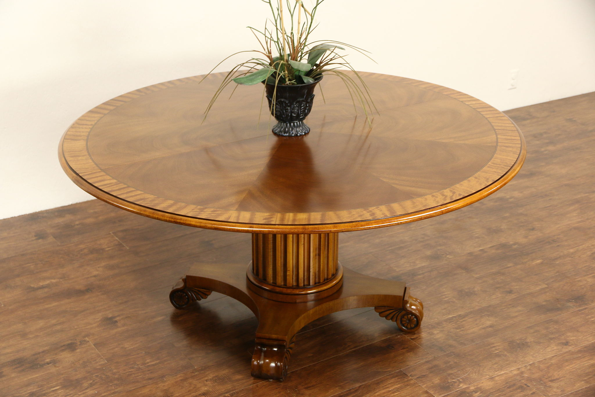 "SOLD Henredon Round 5 4"" Vintage Banded Table Sunburst Top"
