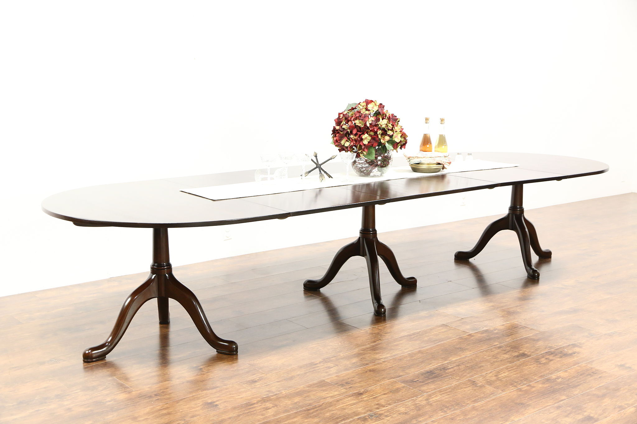 "Banquet Size Mahogany Triple Pedestal 12 4"" Dining Table Signed"