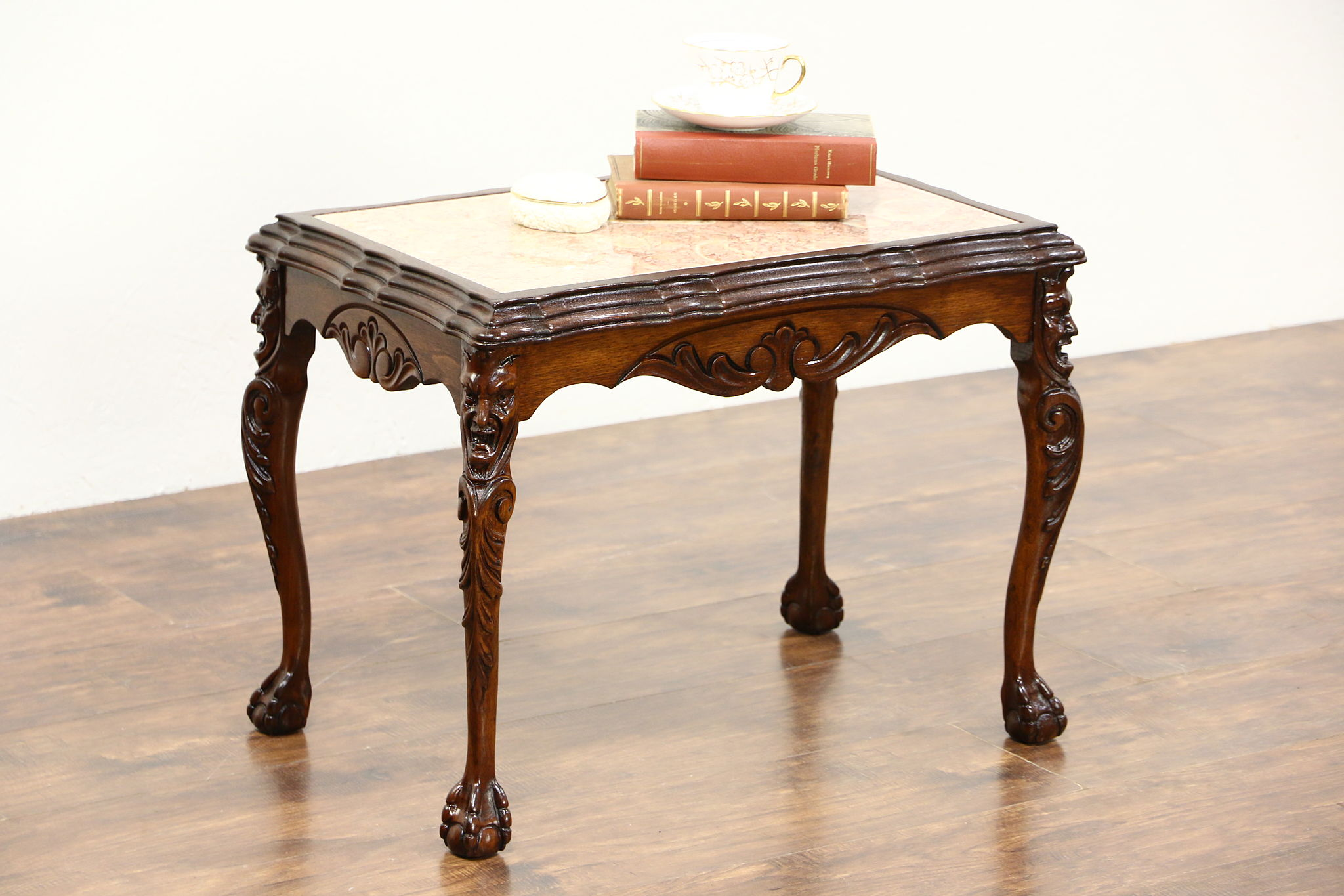 Walnut 1930u0027s Vintage Coffee Table, Marble Top, Carved Faces