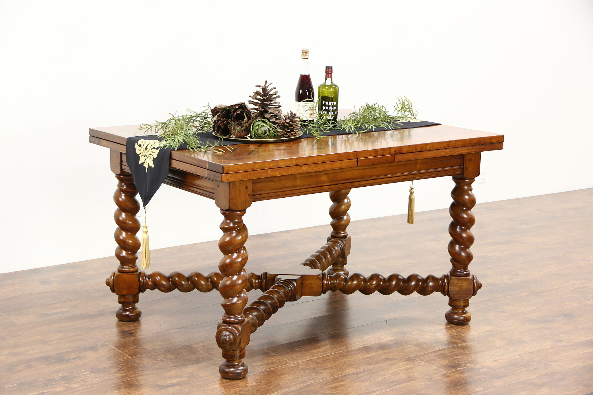 Library Writing or Dining Table 1900 Antique Cherry & Ebony