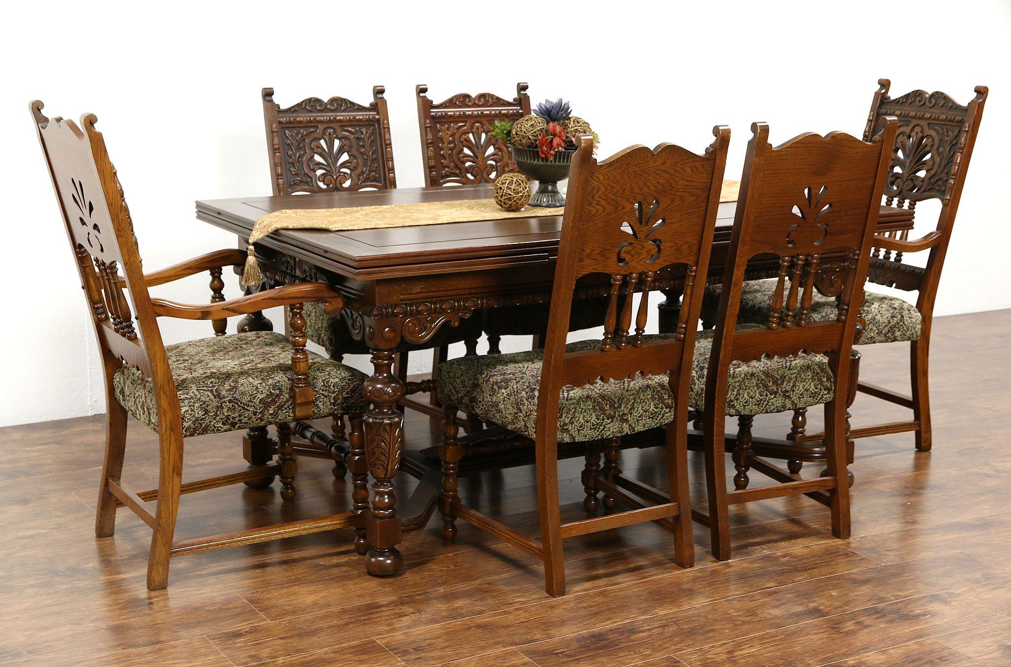 Sold English Tudor 1925 Antique Carved Oak Dining Set