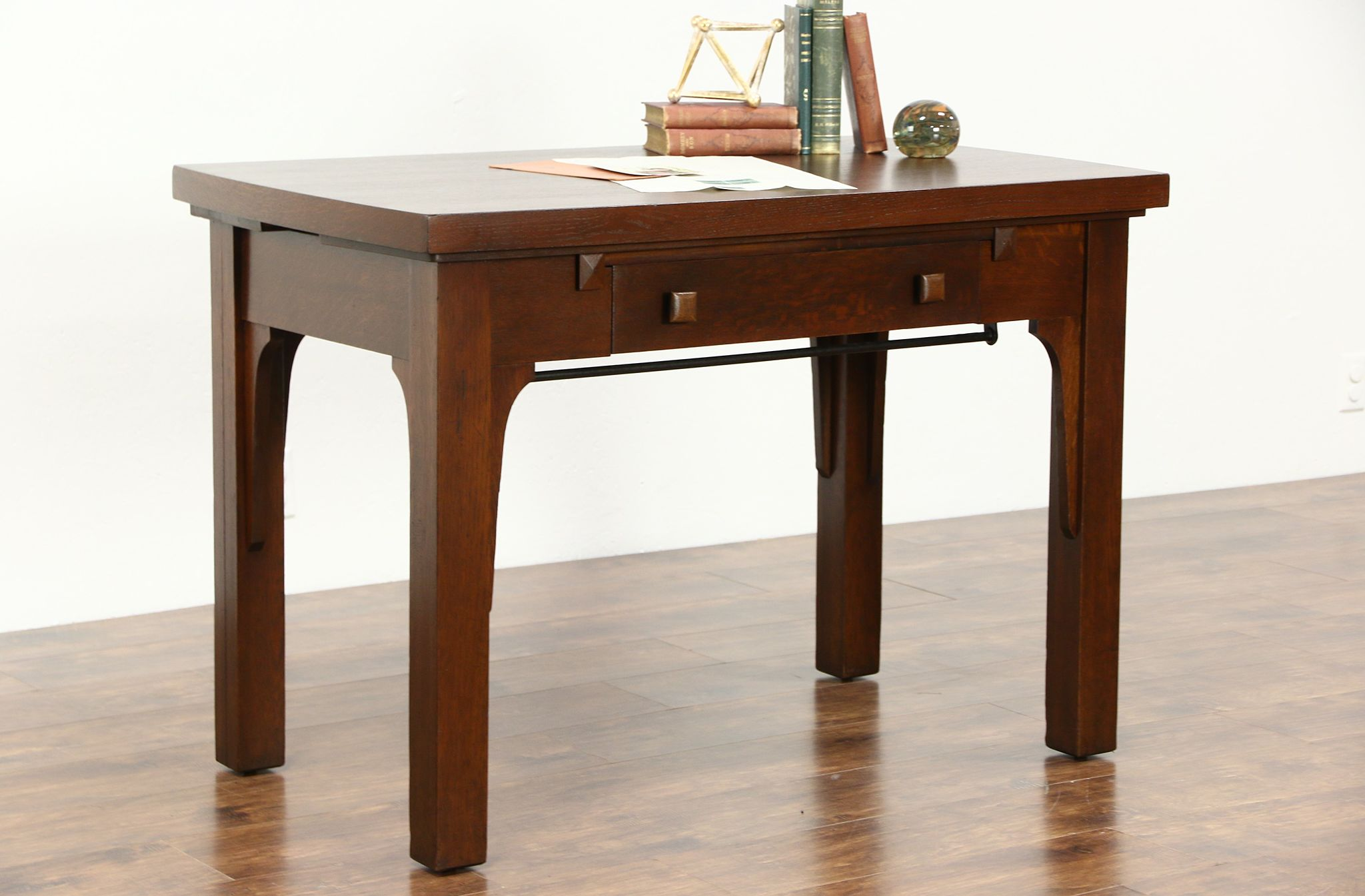 Arts Crafts Mission Oak 1905 Antique Combination Library Desk Dining Table