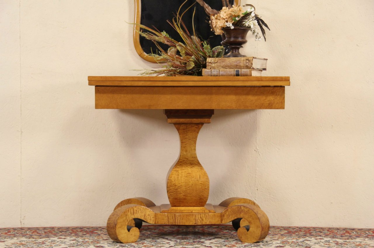 Sold empire curly birdseye maple 1840 antique console table empire curly birdseye maple 1840 antique console table opens to game table geotapseo Image collections