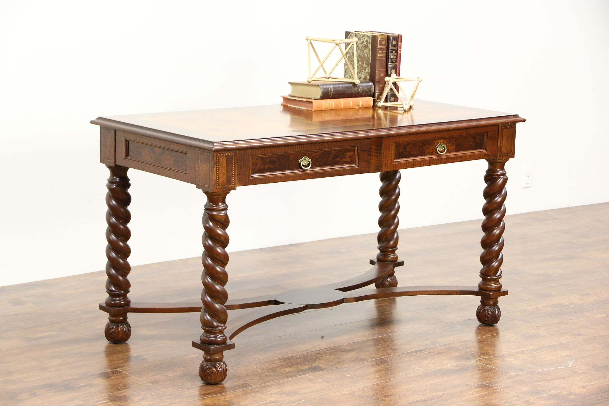 Library Table Antique Writing Desk, Spiral Legs, Inlaid Banding, Mandel  Chicago