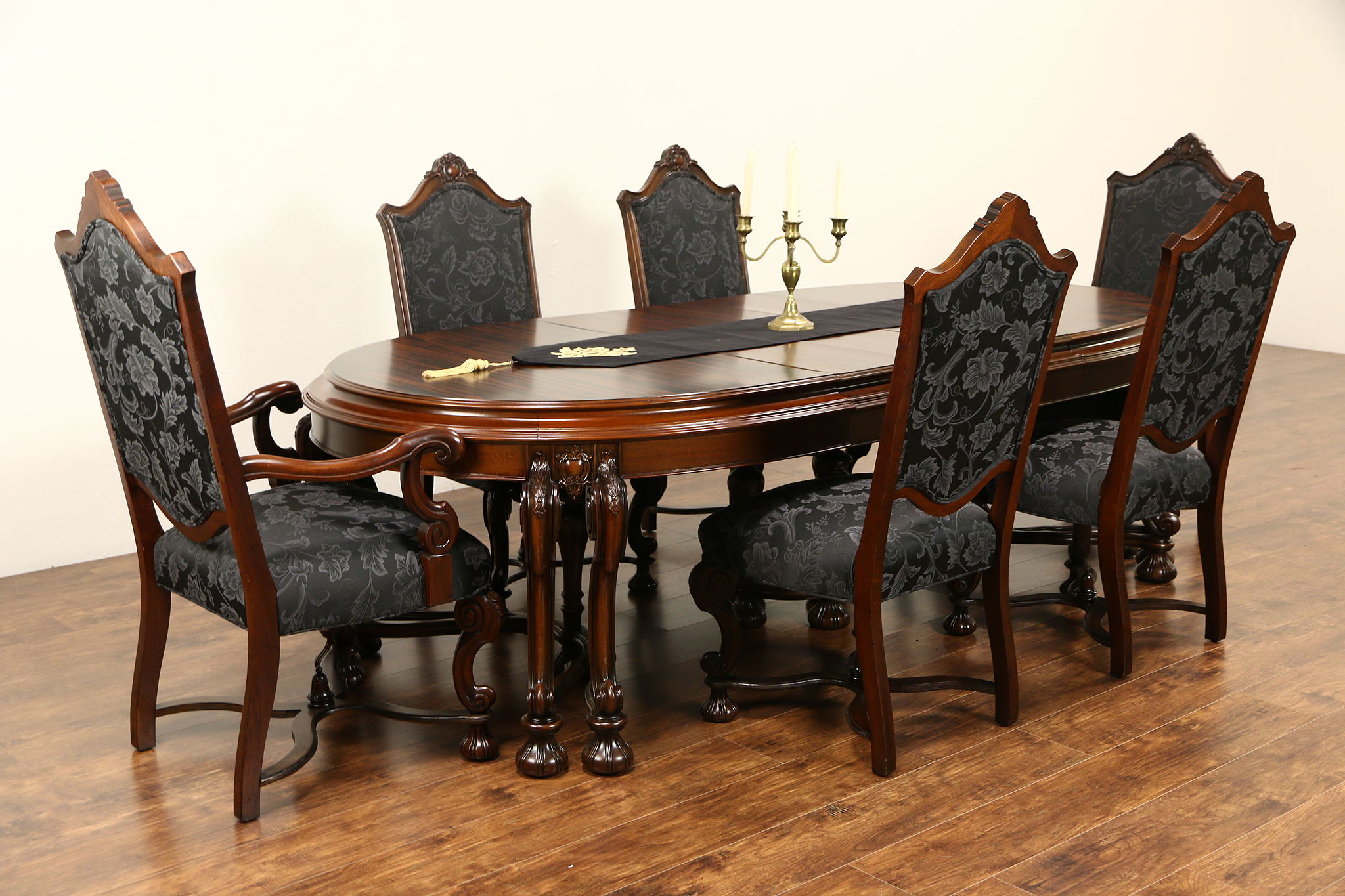Renaissance 1925 antique dining set table 3 leaves 6 chairs new upholstery