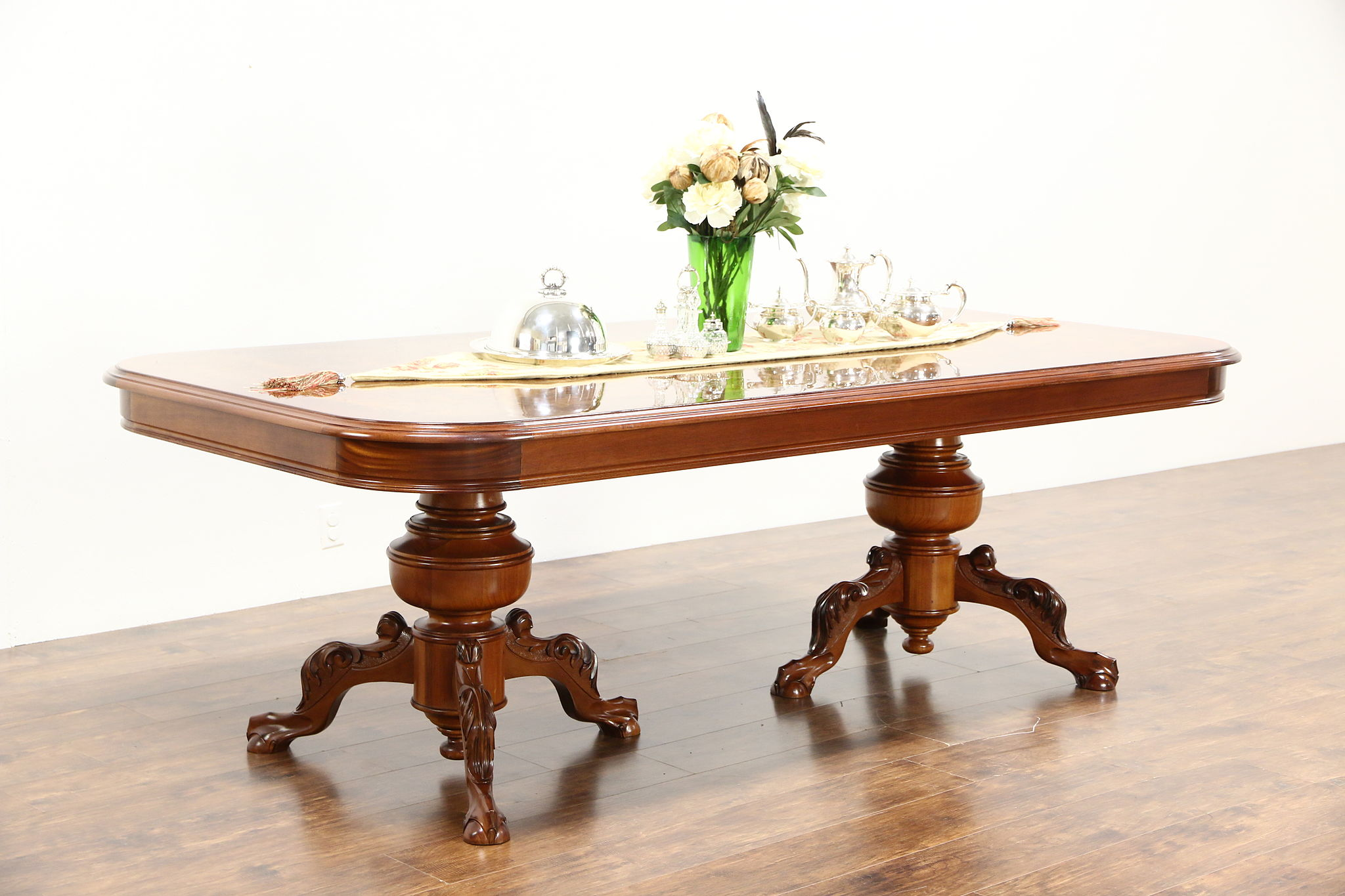 Carved 8 Mahogany Conference Library Dining Table Burl Top