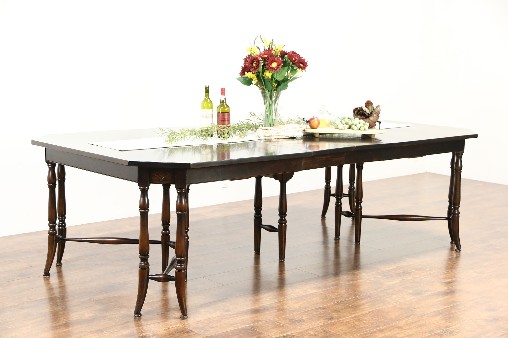 Scandinavian Antique 1900 Dining Table, 9 Leaves, ...