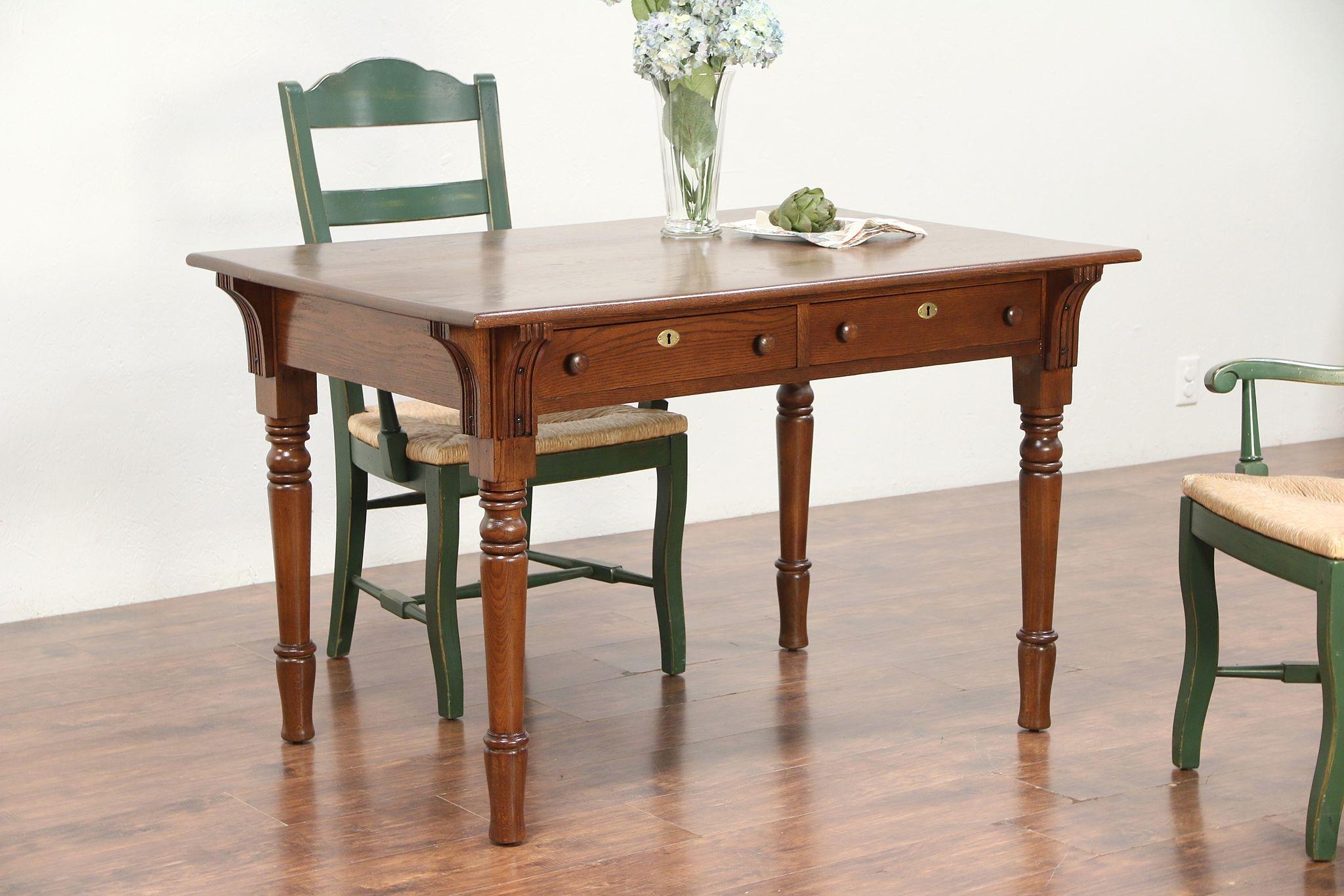 Fabulous Victorian Eastlake Antique Oak Library Table Desk Or Kitchen Table 29552 Download Free Architecture Designs Scobabritishbridgeorg