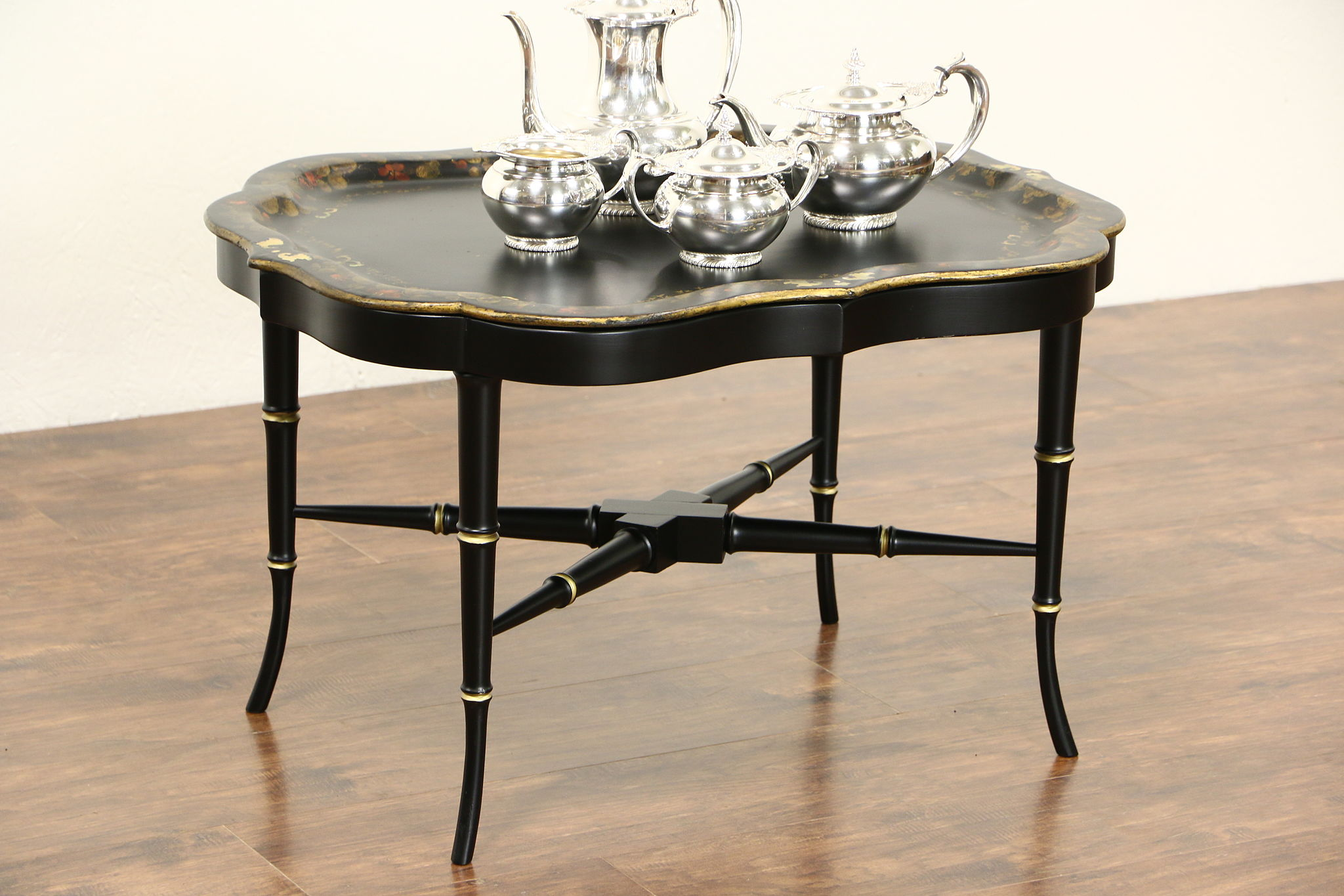 English Paper Mache Pearl U0026 Hand Painted 1860 Antique Tray U0026 Base Coffee  Table