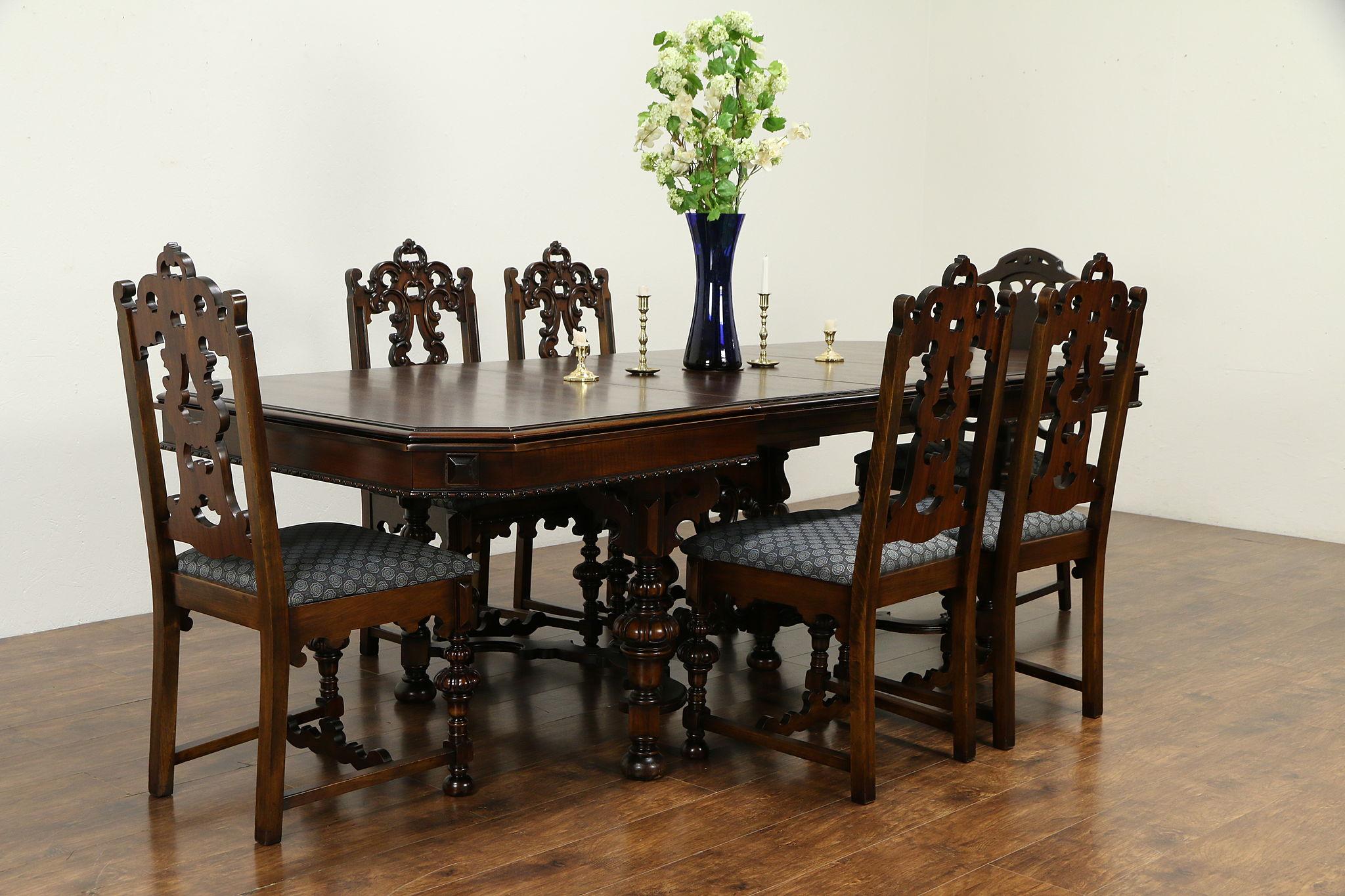 English Tudor Antique Walnut Dining Set, Table, 9 Leaves 9 Chairs, Ottawa  39799
