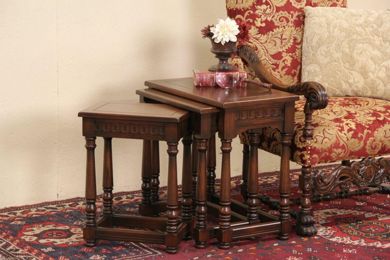 Nesting Snack Tables ~ Sold set of oak tudor s nesting snack tables
