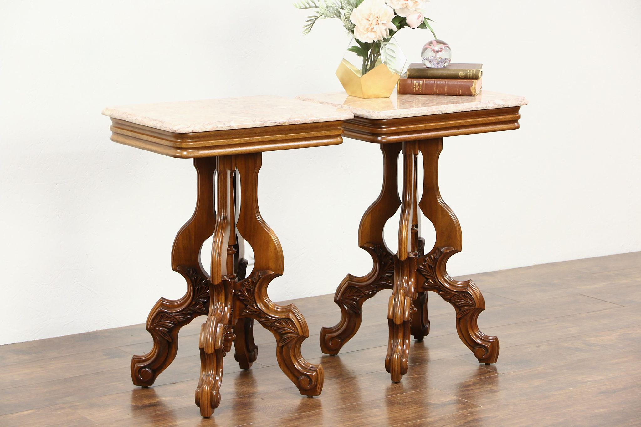 Sold pair victorian style vintage marble top carved walnut end pair victorian style vintage marble top carved walnut end tables geotapseo Gallery