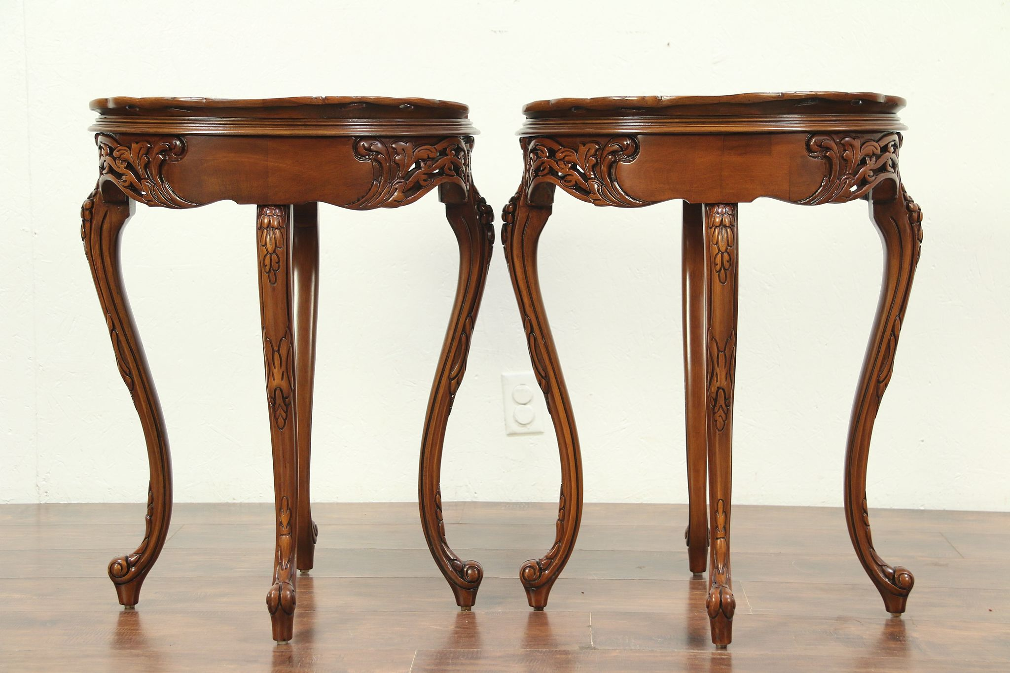 Pair French Style Vintage Nightstands Or End Tables, Rosewood Marquetry  #29162 ...