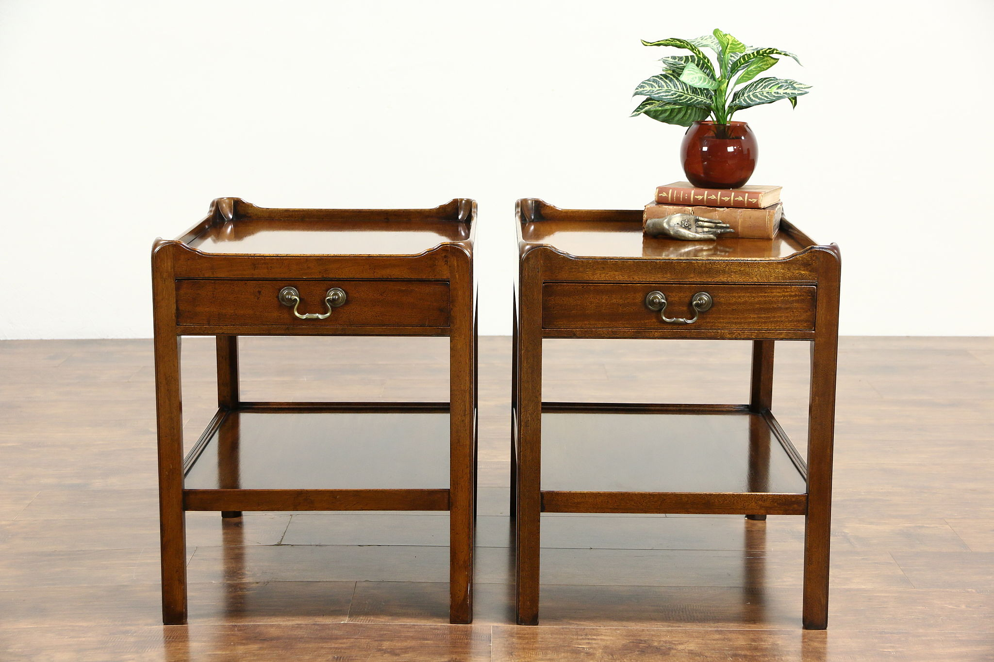 Pair Of Vintage Mahogany End Or Lamp Tables, Signed Caledonian, ...