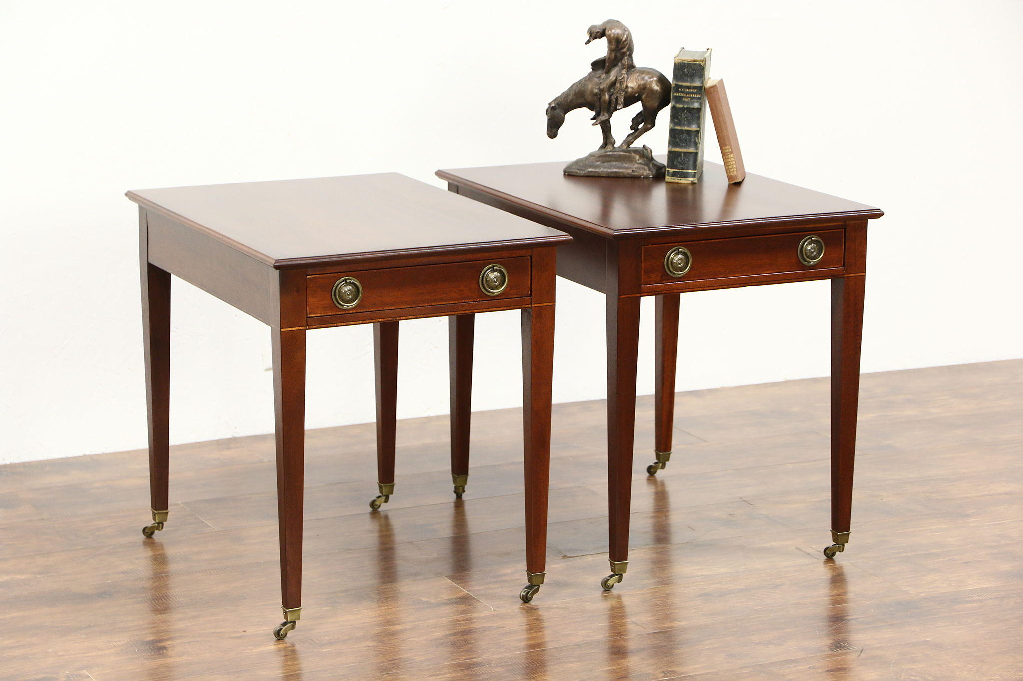 SOLD Pair of Vintage Mahogany End or Lamp Tables signed