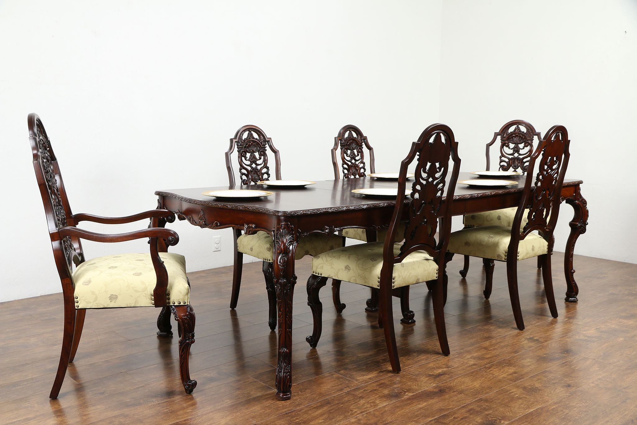 Sold Carved Vintage Dining Set Table, Antique Dining Room Table