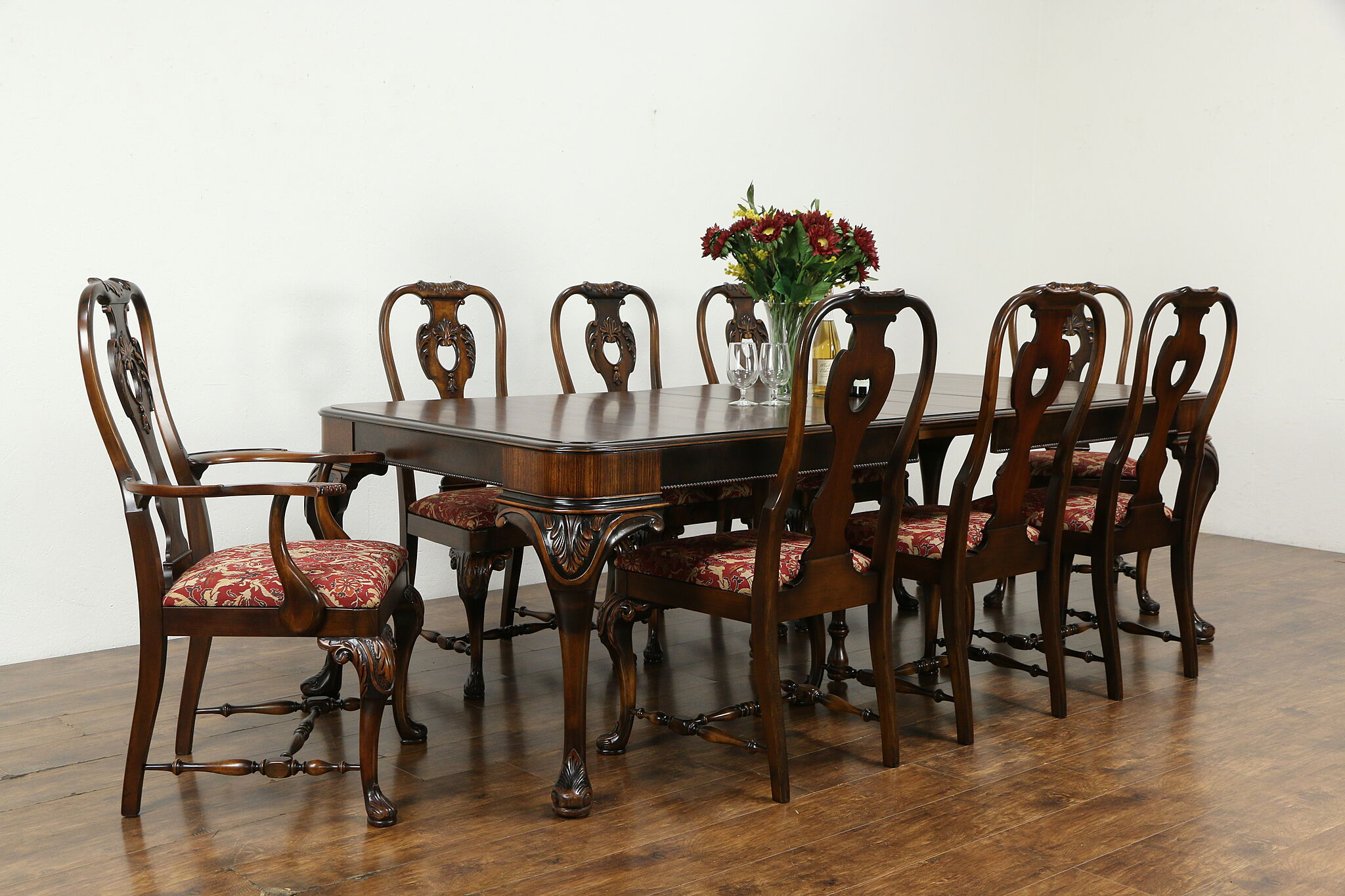 Sold Renaissance Antique Dining Set Table 3 Leaves 8 Chairs Berkey And Gay 34351 Harp Gallery Antiques Furniture