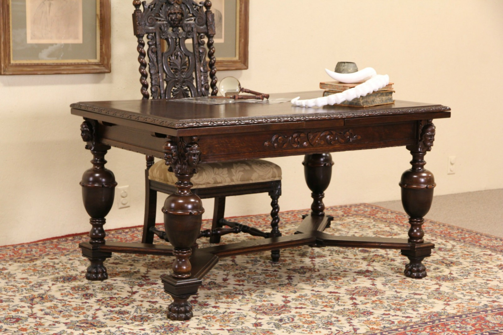 English Tudor 1910 Antique Oak Dining Or Library Table, Carved Faces