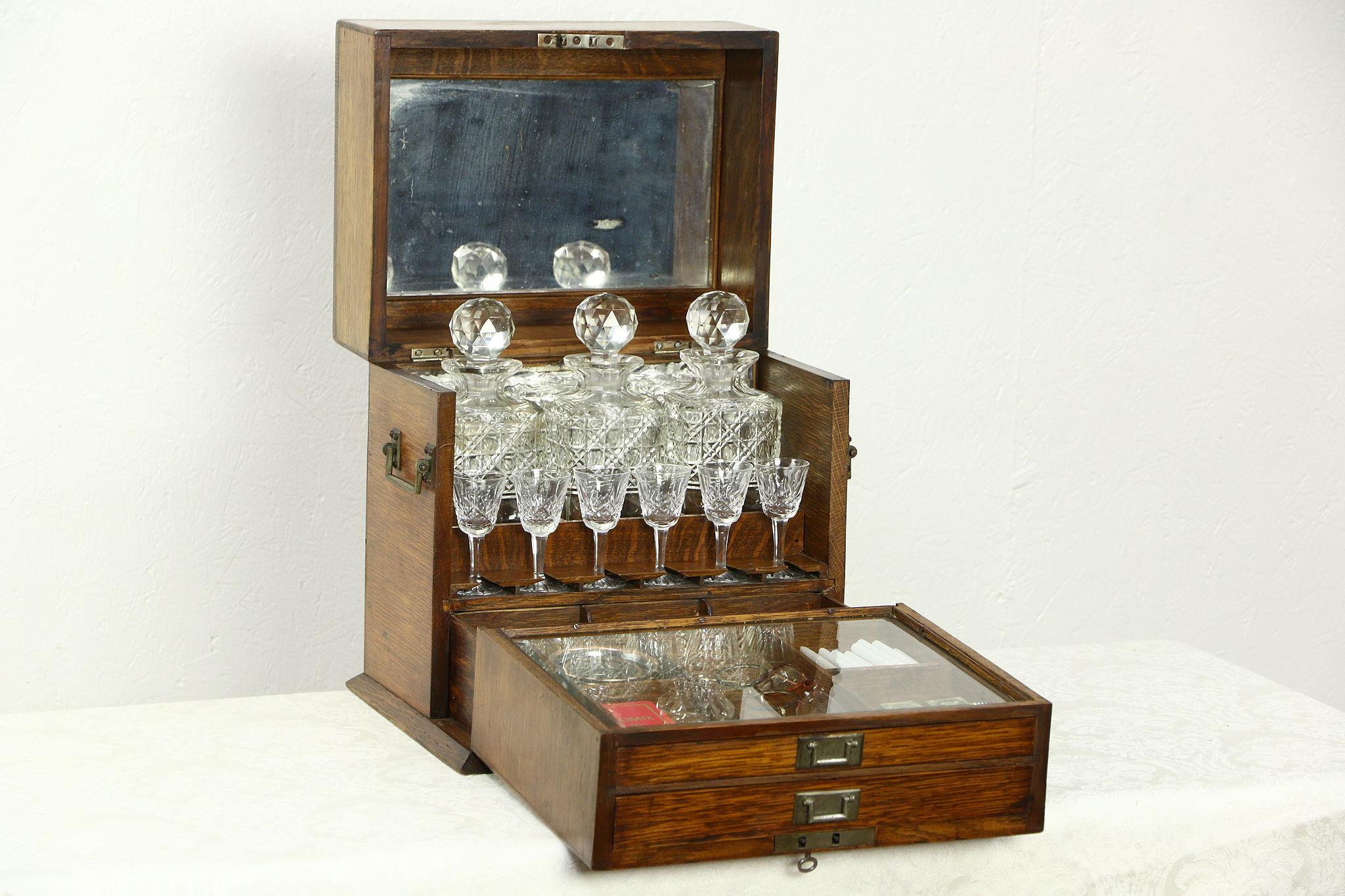 Sold english oak 1890 antique portable bar cabinet - Mobile bar vintage ...