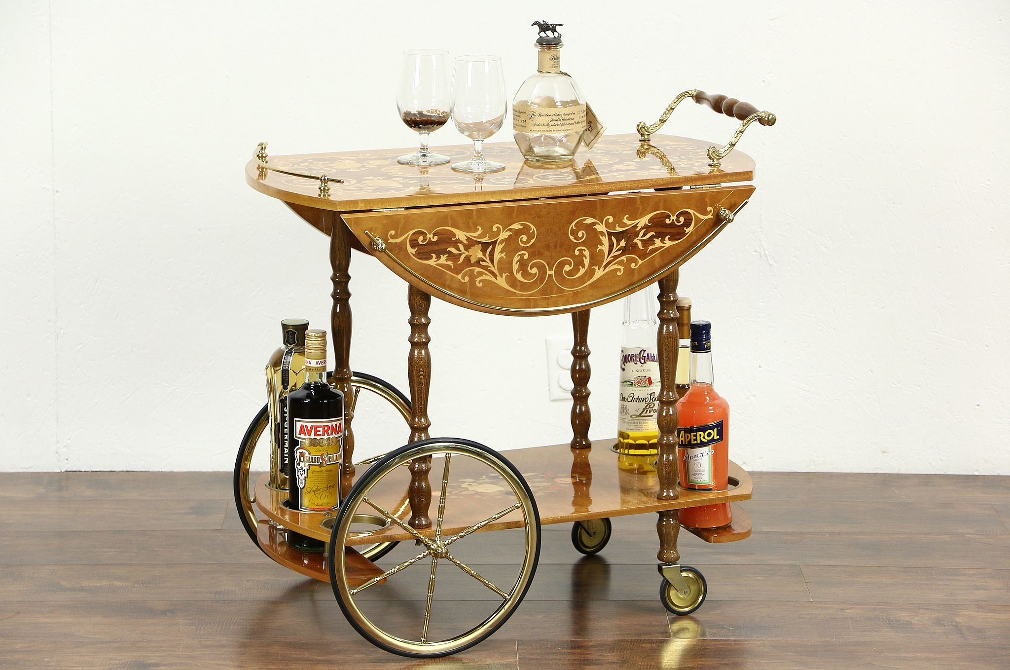 Sold Italian Marquetry Vintage Dessert Or Tea Cart Beverage Trolley Harp Gallery