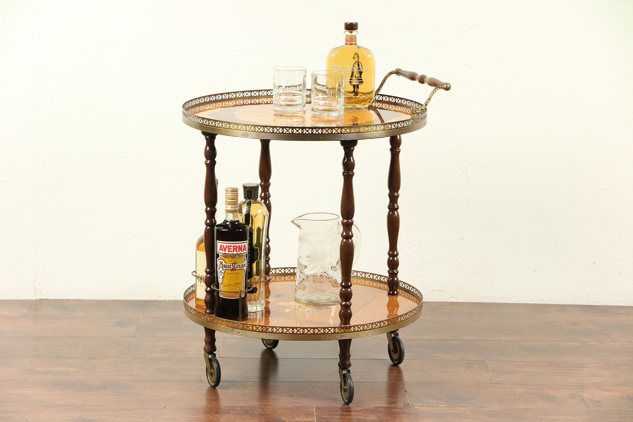 Sold Italian Rosewood Marquetry Round Bar Cart Tea Or Dessert Trolley 29682 Harp Gallery Antiques Furniture