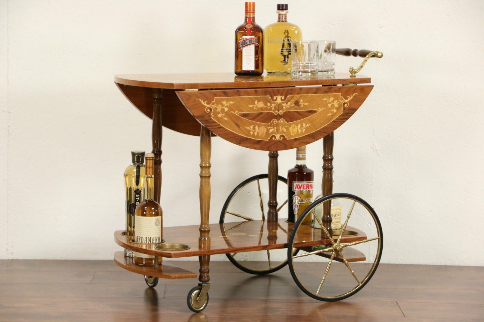 Sold Italian Vintage Marquetry Tea Cart Beverage Or